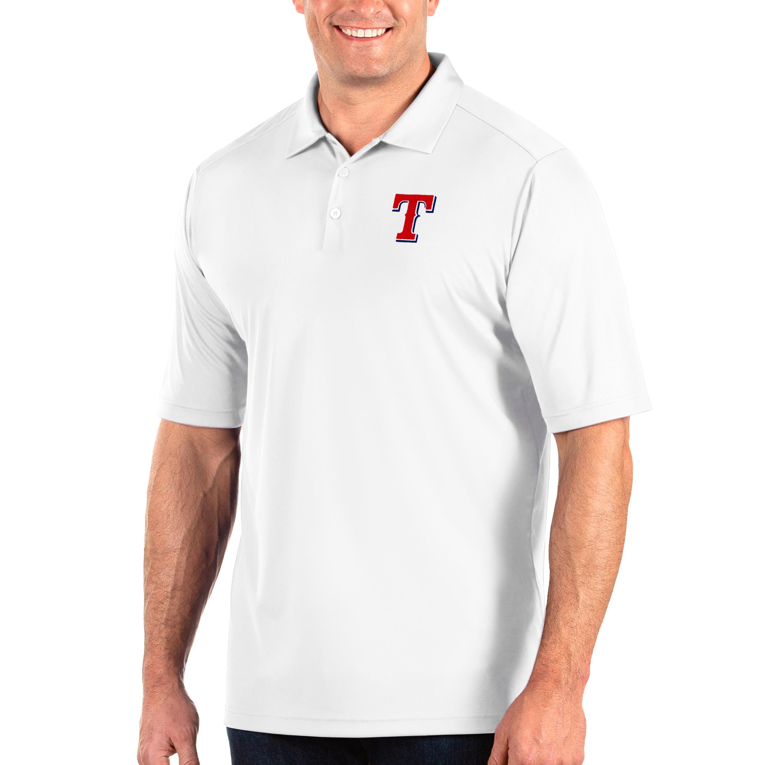 Texas Rangers Antigua Big & Tall Tribute Polo - White