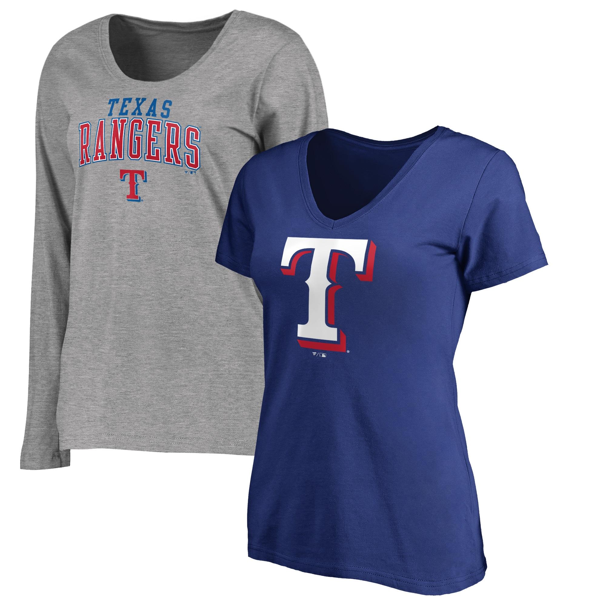 Texas Rangers Fanatics Branded Women's V-Neck T-Shirt Combo Set - Royal/Gray