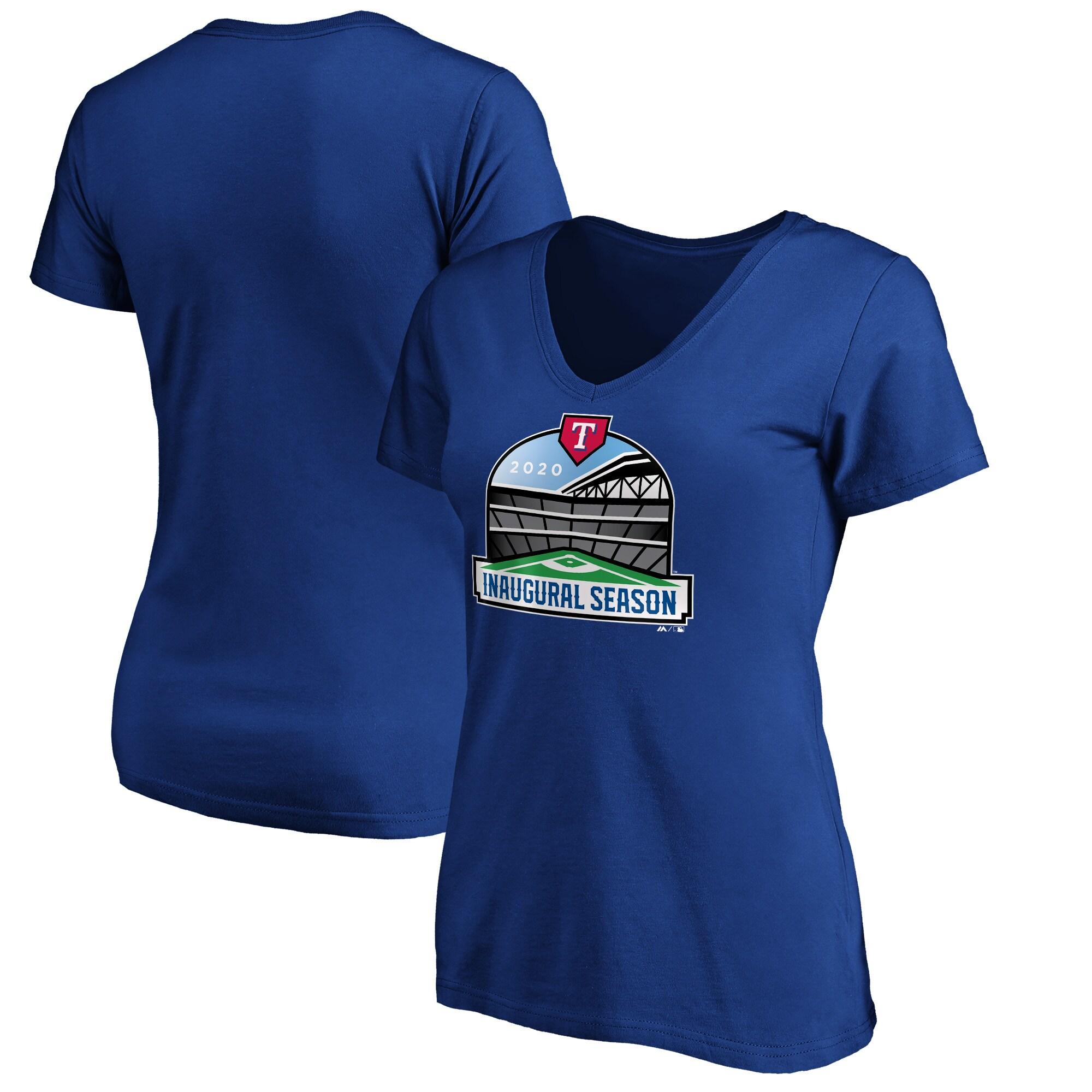 Texas Rangers Majestic Women's 2020 Inaugural Season Patch V-Neck T-Shirt - Royal