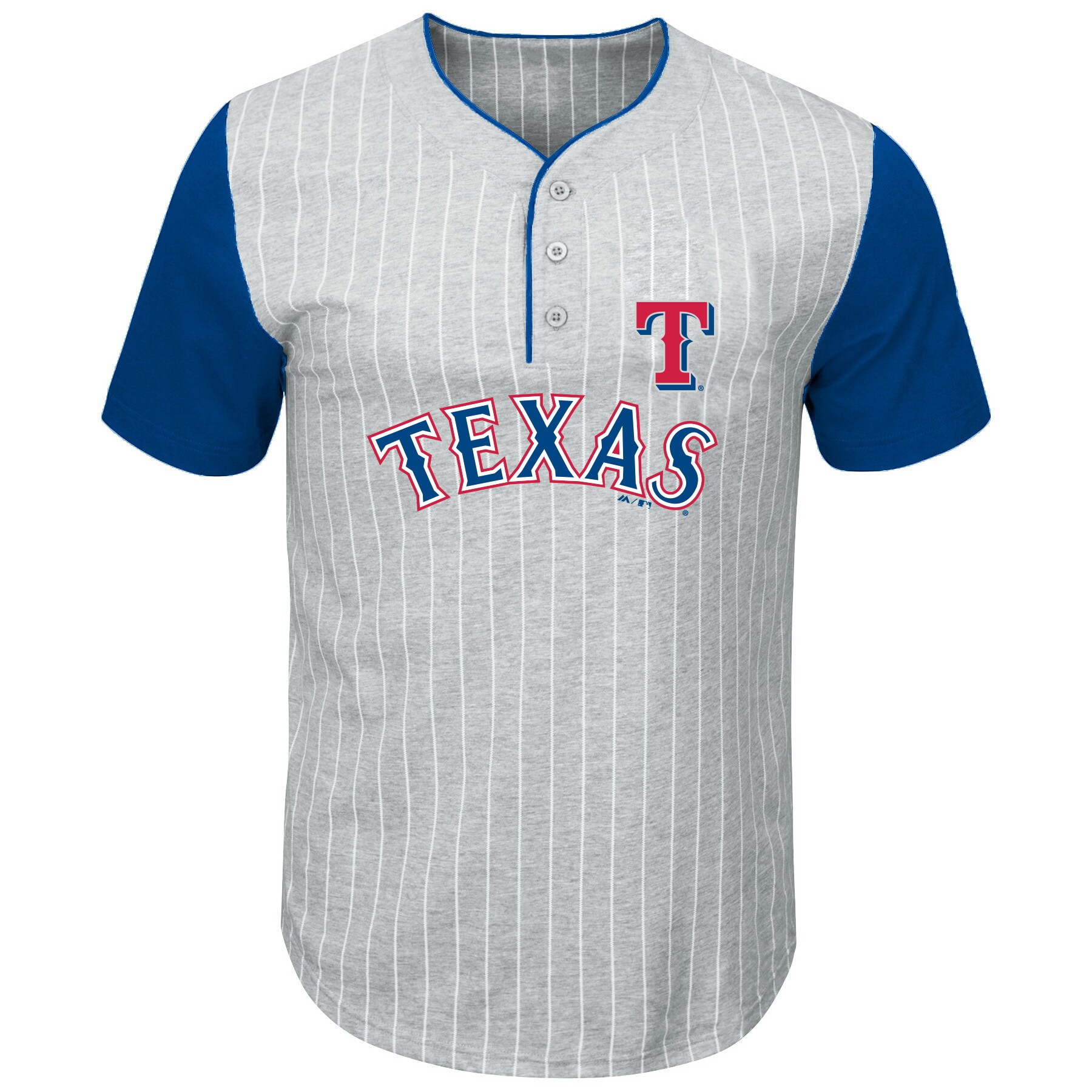 Texas Rangers Majestic Big & Tall Pinstripe Henley T-Shirt - Gray/Royal
