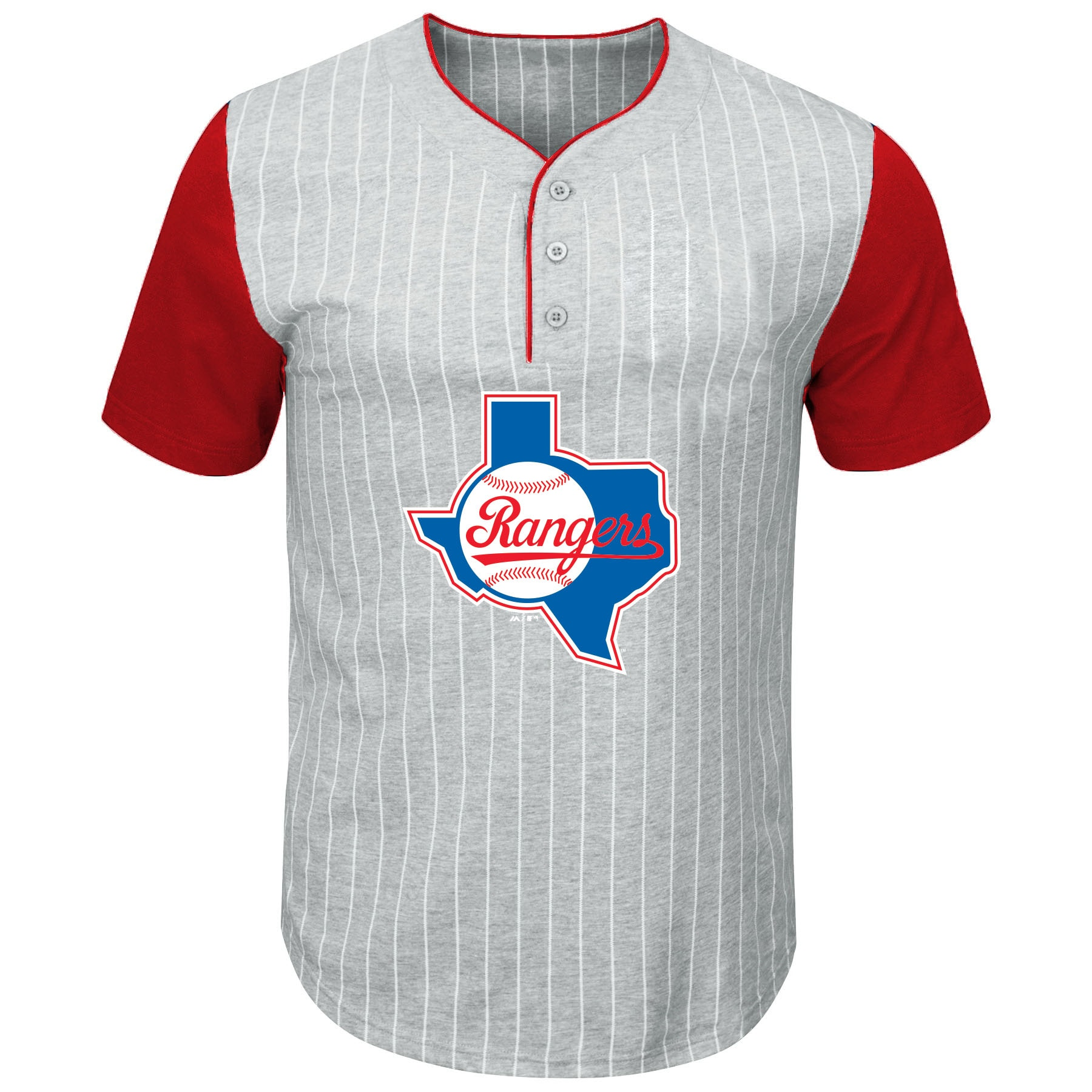 Texas Rangers Majestic Big & Tall Cooperstown Collection Pinstripe Henley Raglan T-Shirt - Gray/Red