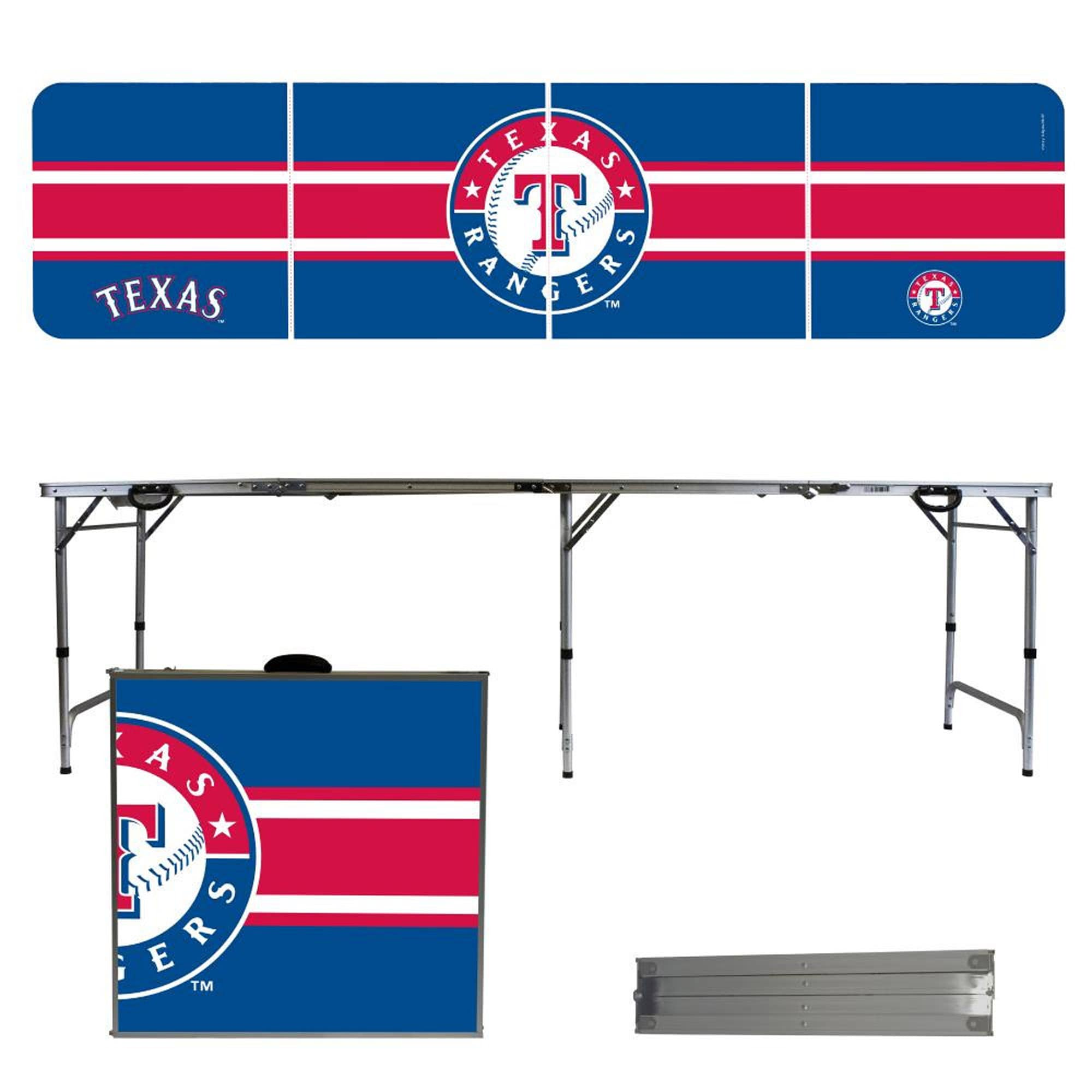 Texas Rangers Striped Design 8' Portable Folding Tailgate Table