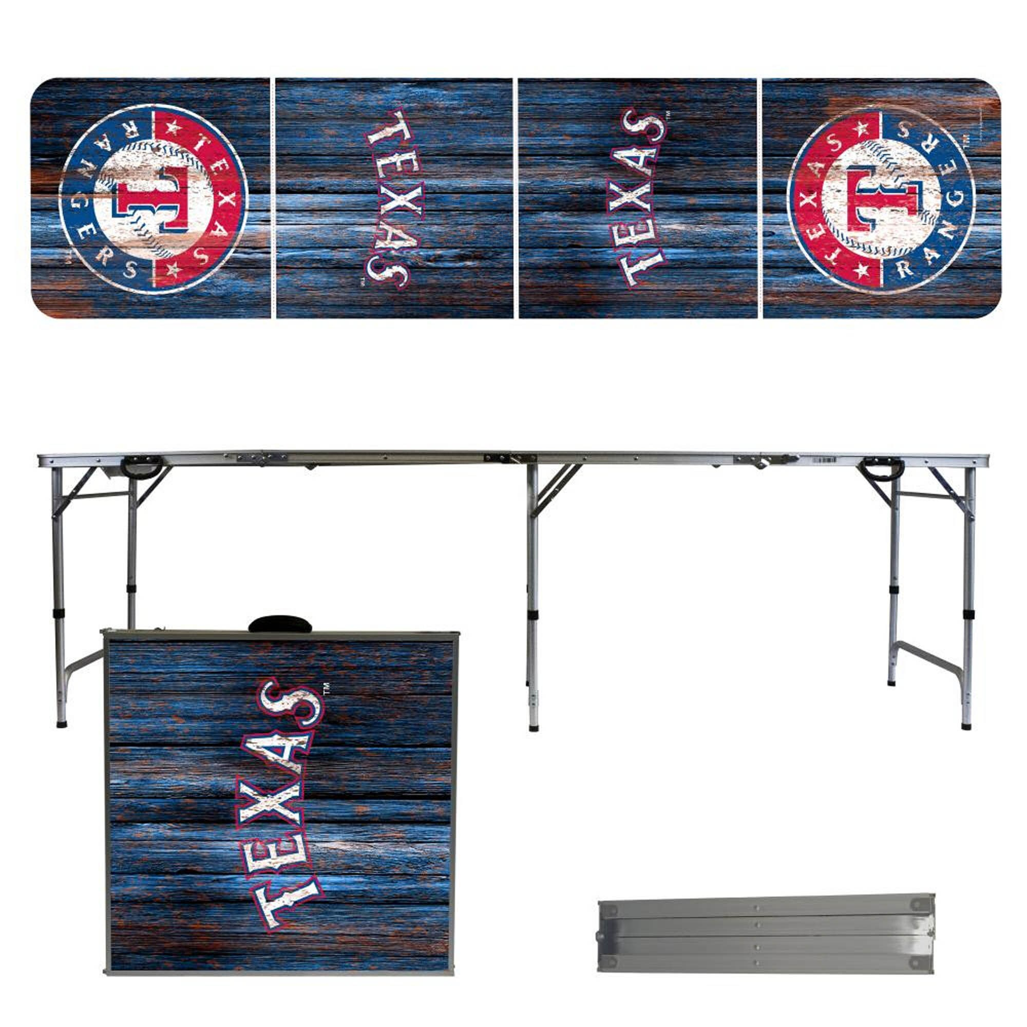 Texas Rangers Weathered Design 8' Portable Folding Tailgate Table