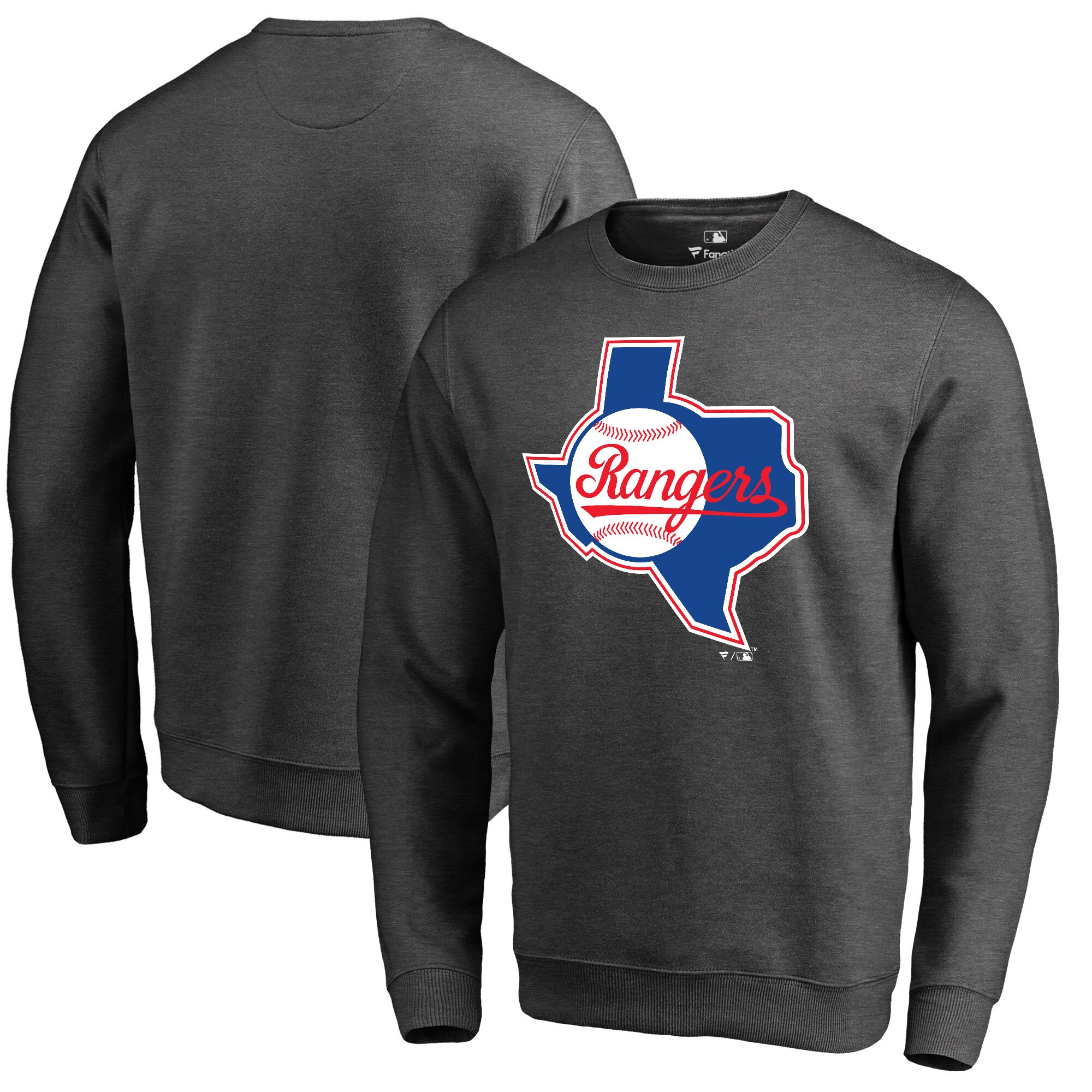 Texas Rangers Fanatics Branded Cooperstown Collection Huntington Sweatshirt - Heathered Gray