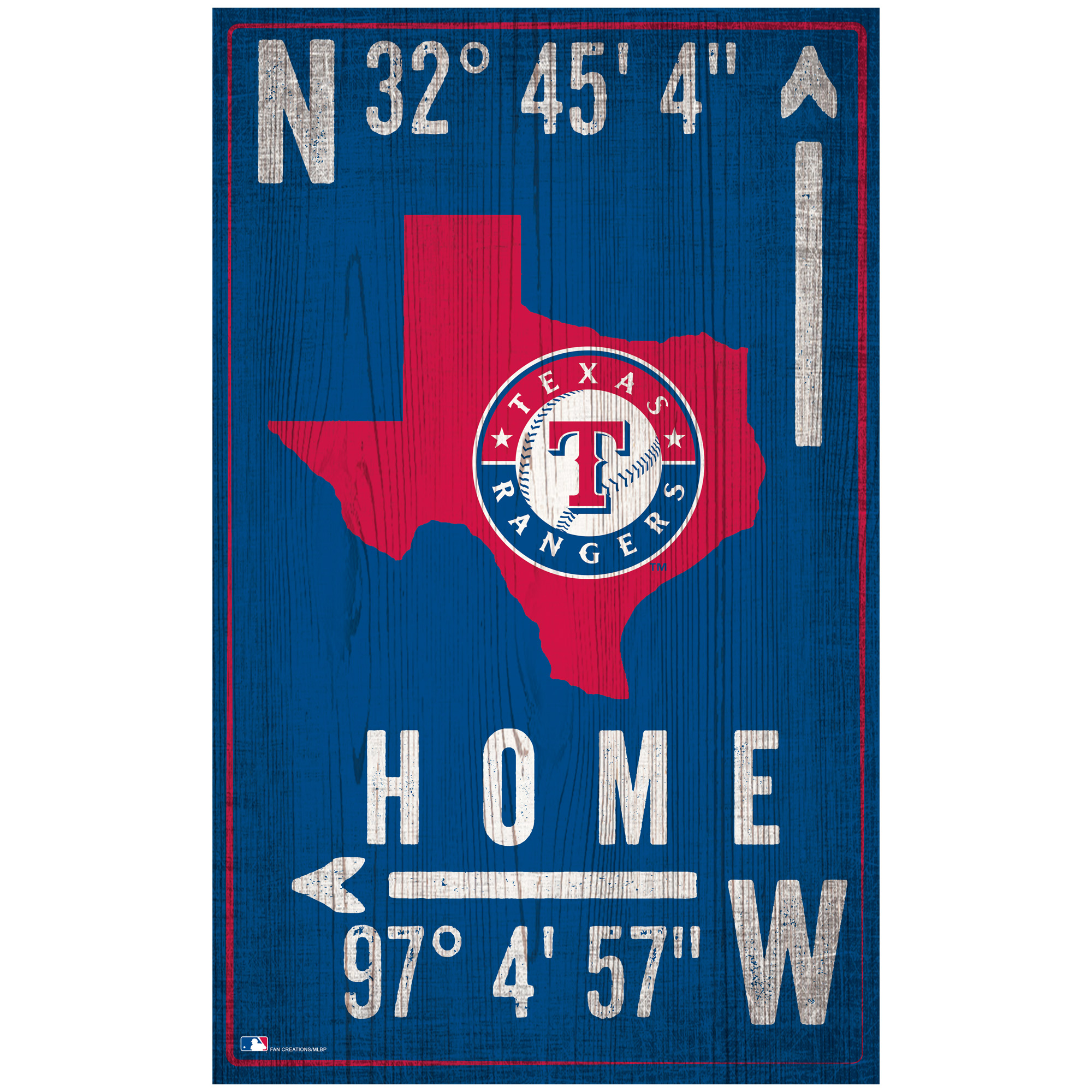 "Texas Rangers 11"" x 19"" Coordinate Sign"