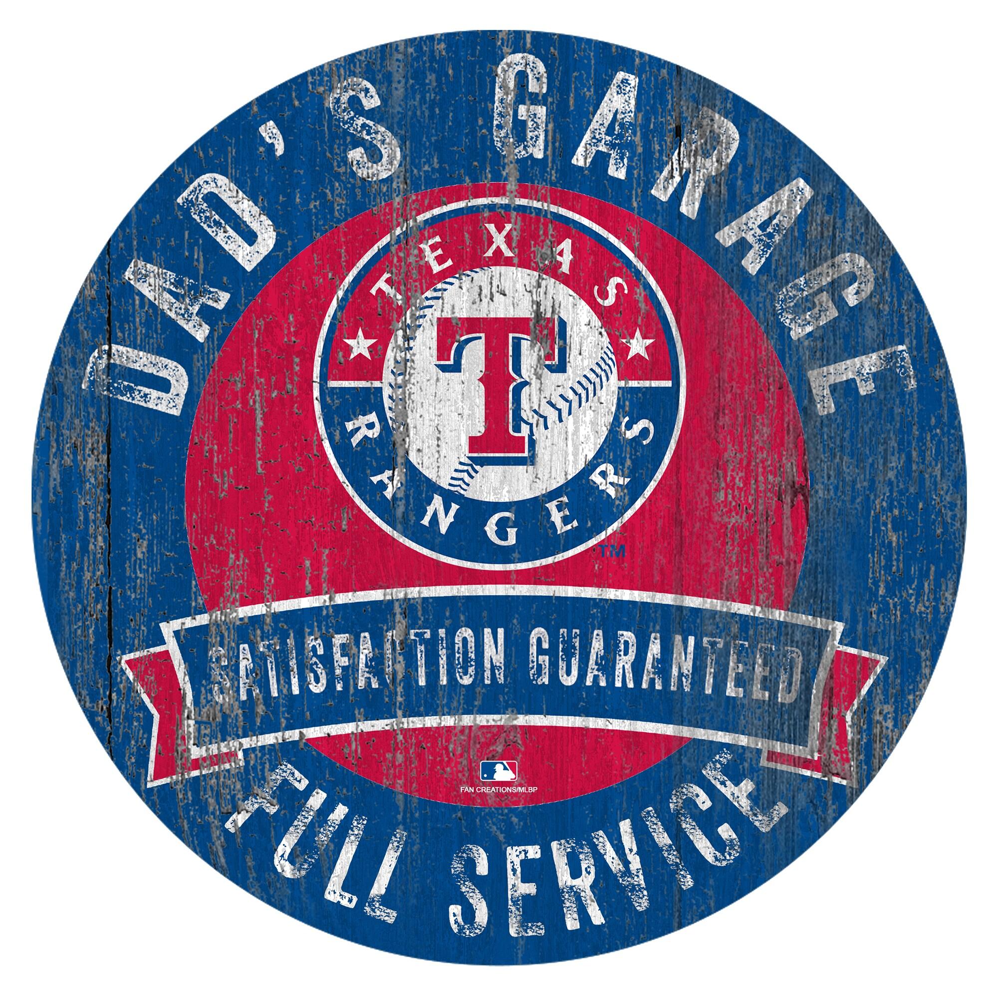 "Texas Rangers 12"" x 12"" Dad's Garage Sign"