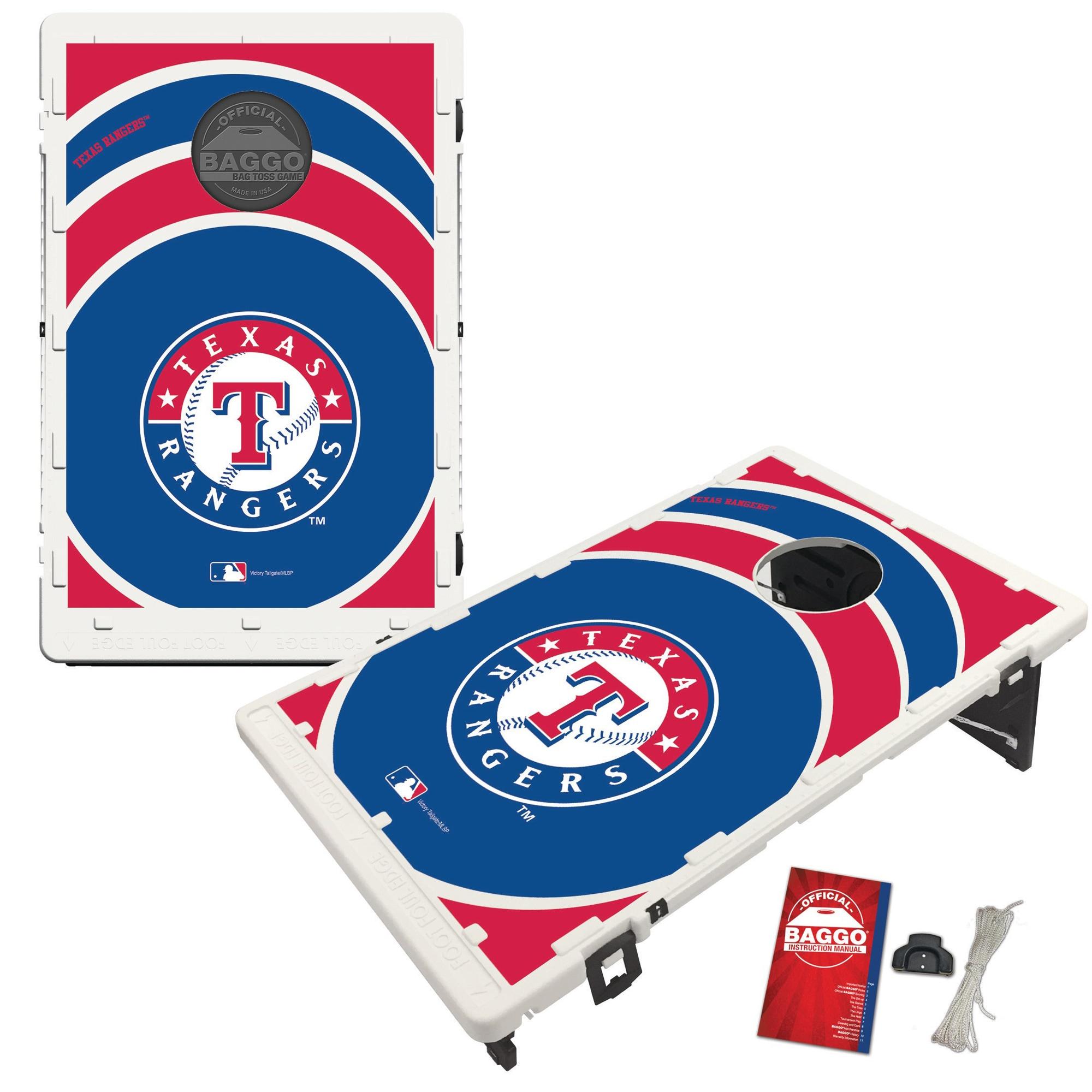 Texas Rangers 2' x 3' BAGGO Vortex Cornhole Board Tailgate Toss Set
