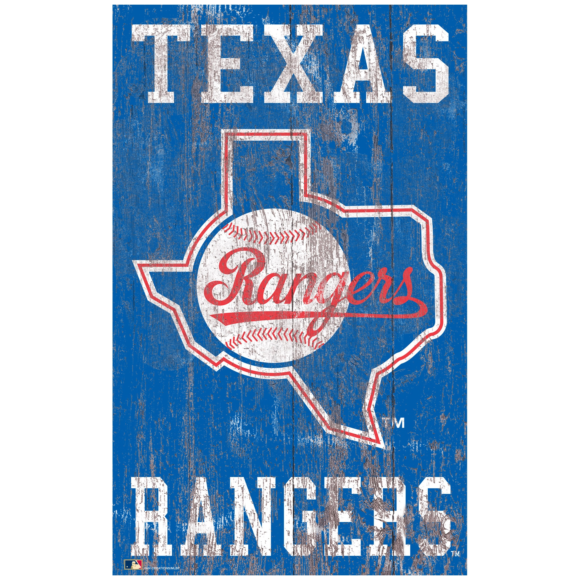 Texas Rangers 11'' x 19'' Heritage Distressed Logo Sign