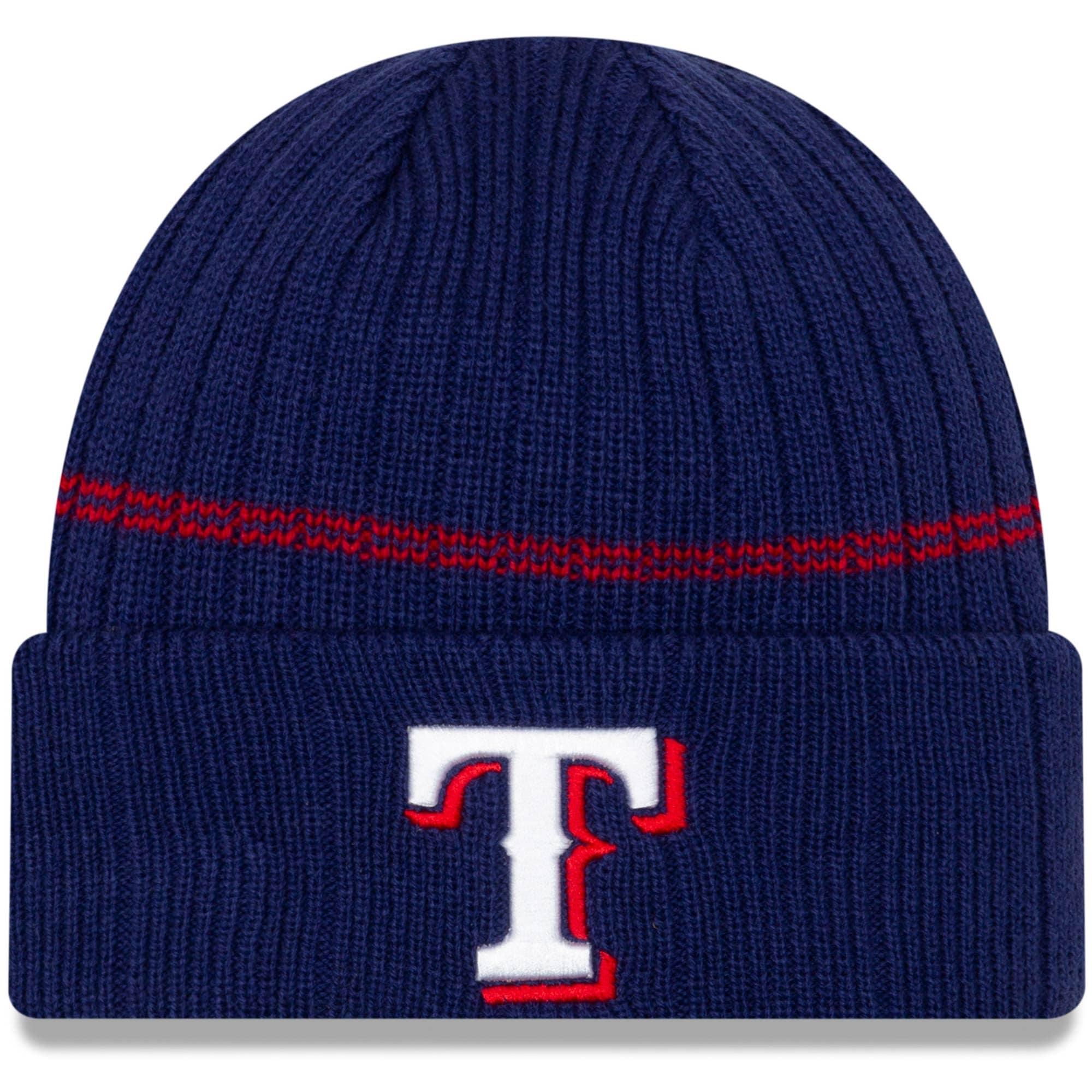 Texas Rangers New Era Primary Logo On-Field Sport Cuffed Knit Hat - Navy