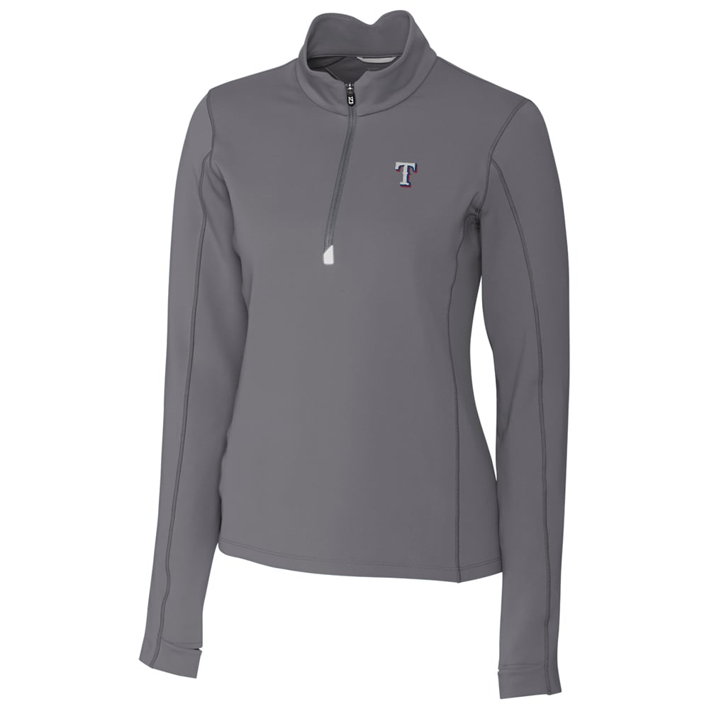 Texas Rangers Cutter & Buck Women's Traverse Half-Zip Pullover Jacket - Gray