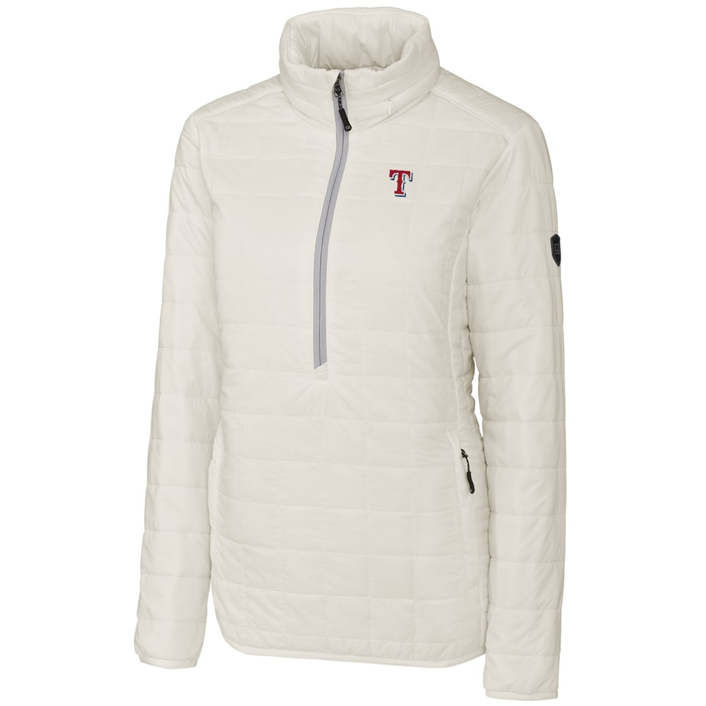 Texas Rangers Cutter & Buck Women's Rainier Half-Zip Popover Jacket - White