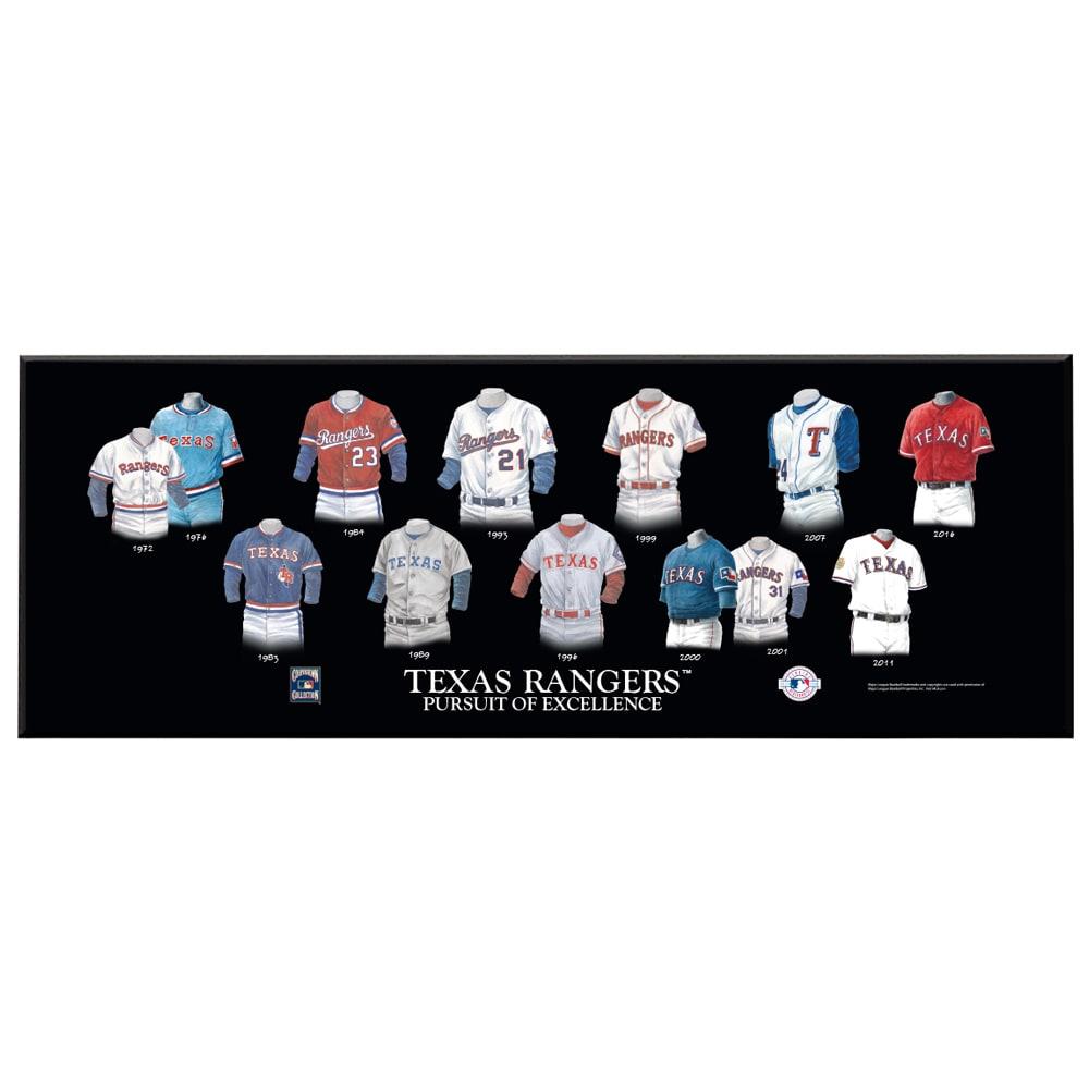 Texas Rangers 8'' x 24'' Uniform Evolution Plaque