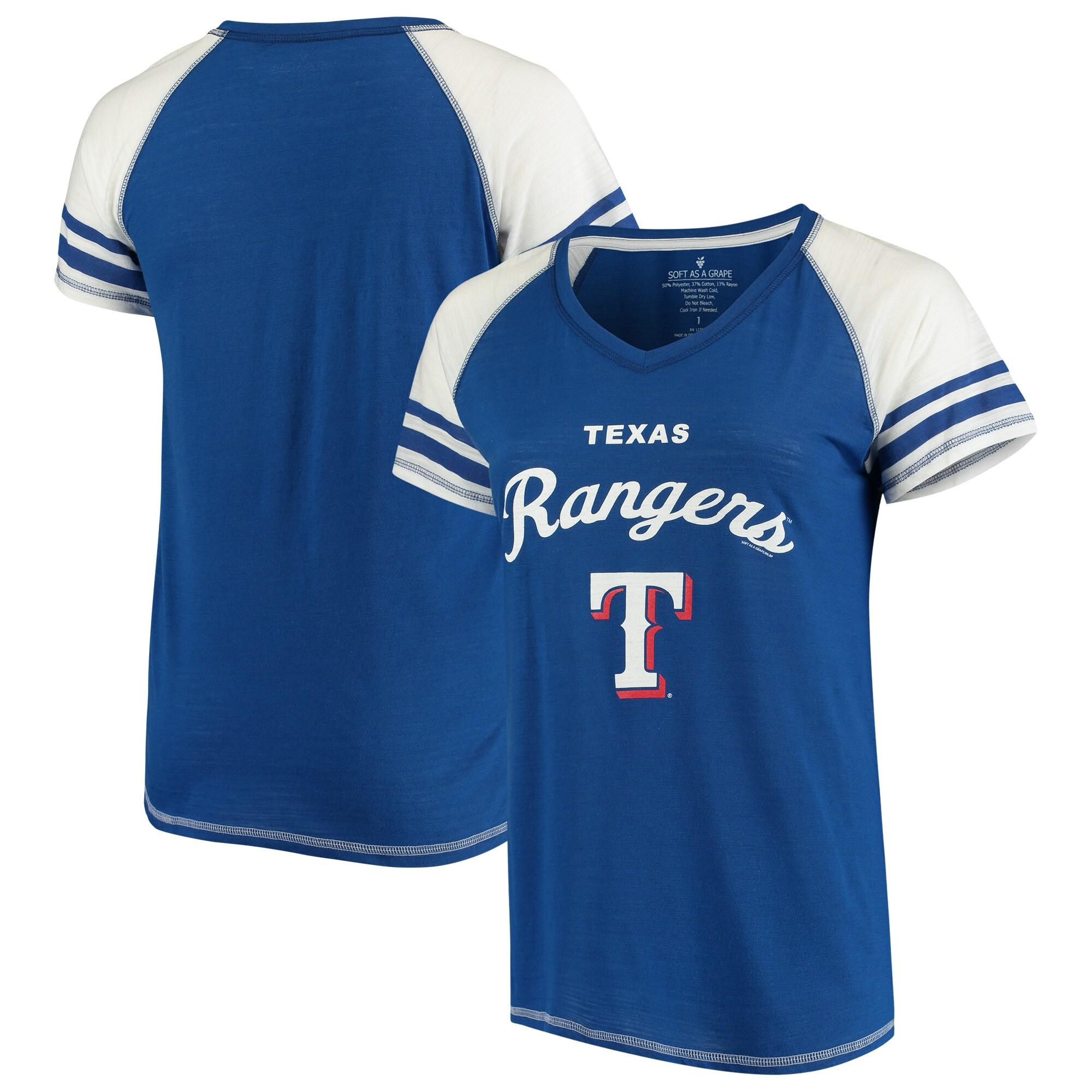 Texas Rangers Soft as a Grape Women's Curvy Three Out Color Blocked Raglan V-Neck T-Shirt - Royal