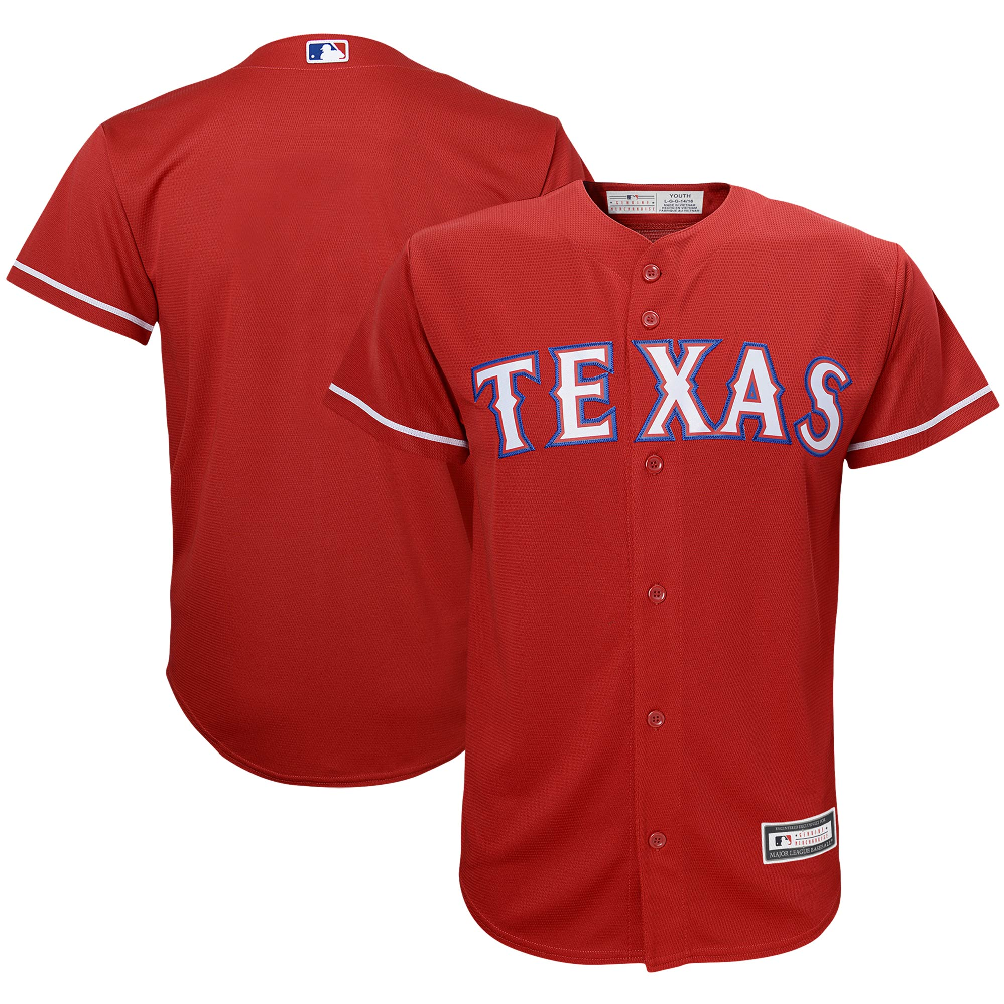 Texas Rangers Youth Replica Team Jersey - Scarlet
