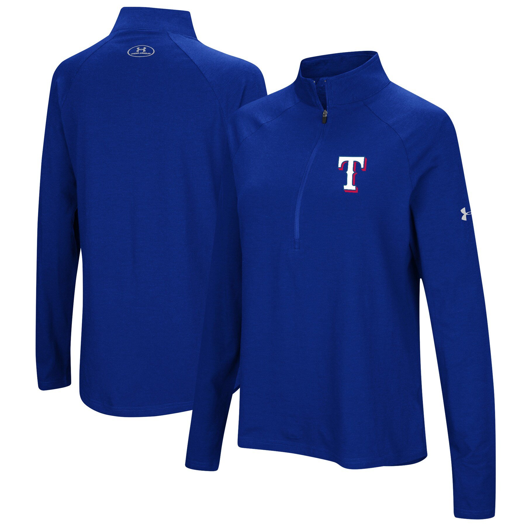 Texas Rangers Under Armour Women's Passion Performance Tri-Blend Raglan Half-Zip Pullover Jacket - Royal