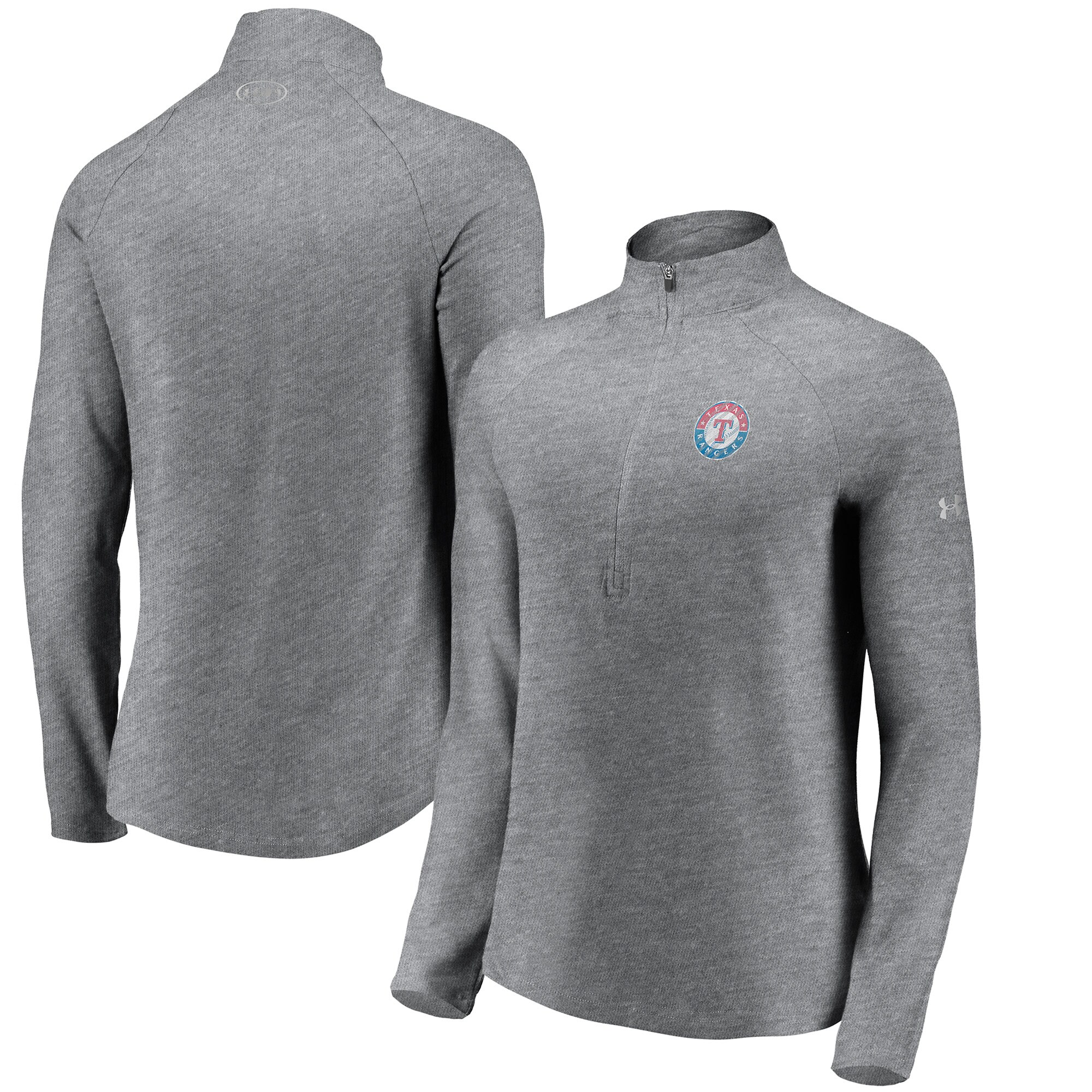 Texas Rangers Under Armour Women's Passion Alternate Performance Tri-Blend Raglan Half-Zip Pullover Jacket - Heathered Gray