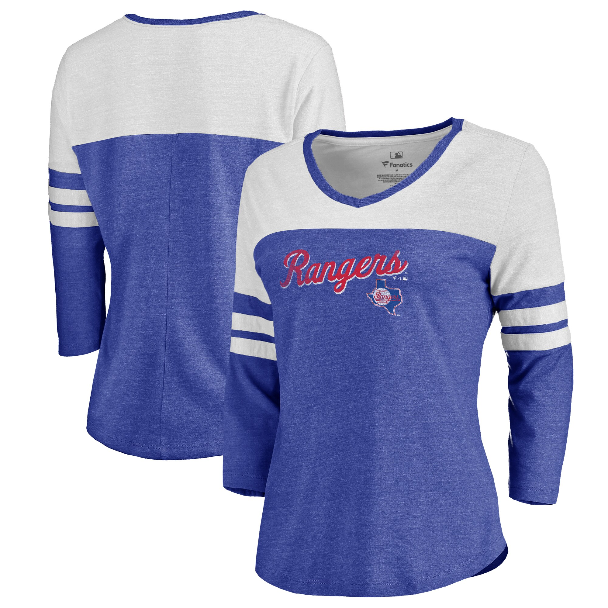 Fanatics Branded Texas Rangers Women's Royal Rising Script Color Block 3/4 Sleeve Tri-Blend T-Shirt
