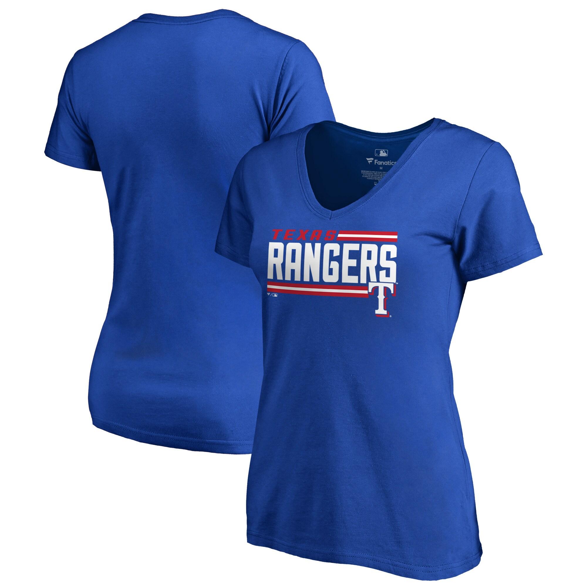 Texas Rangers Fanatics Branded Women's Onside Stripe V-Neck T-Shirt - Royal