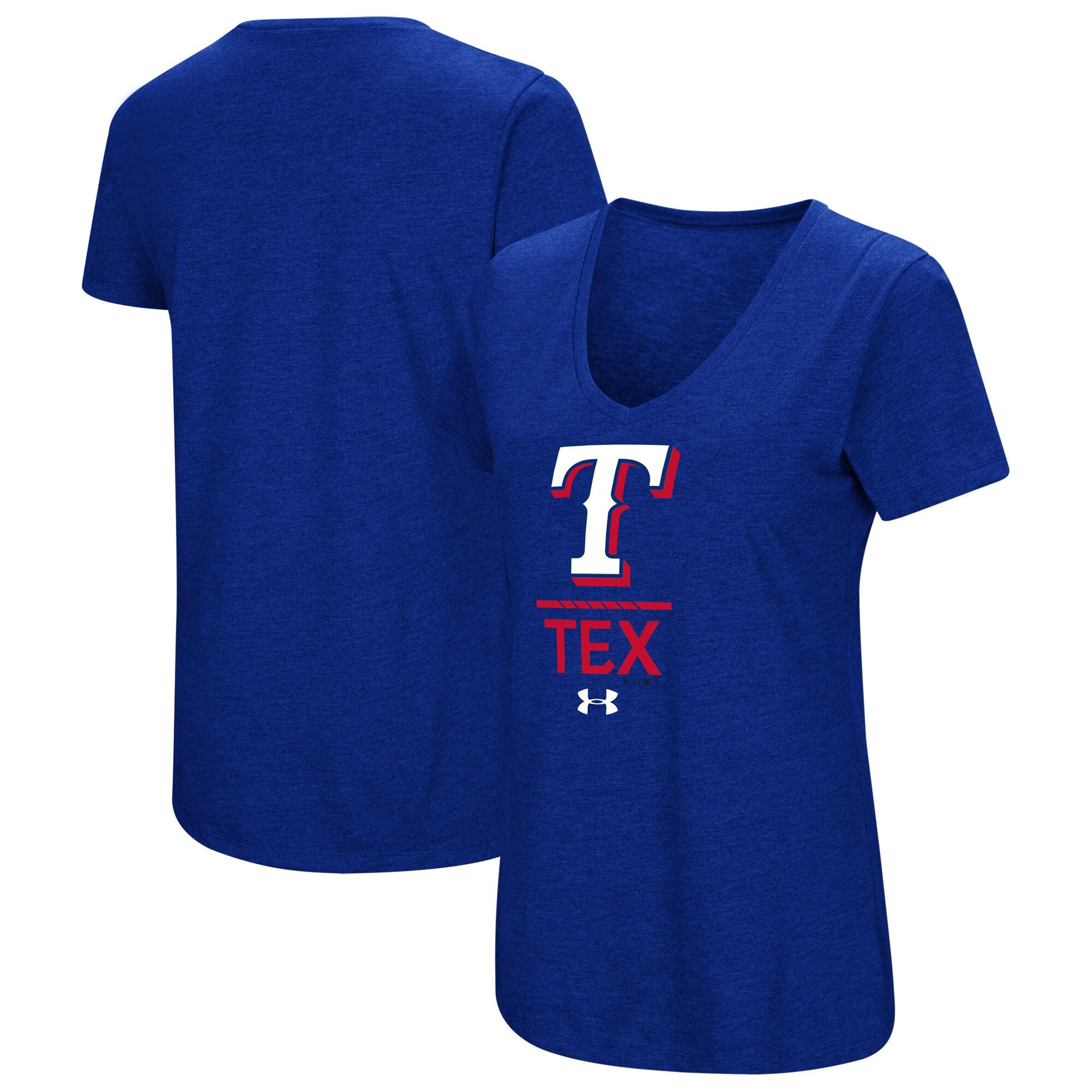 Texas Rangers Under Armour Women's Team Lock-Up Tri-Blend T-Shirt - Royal