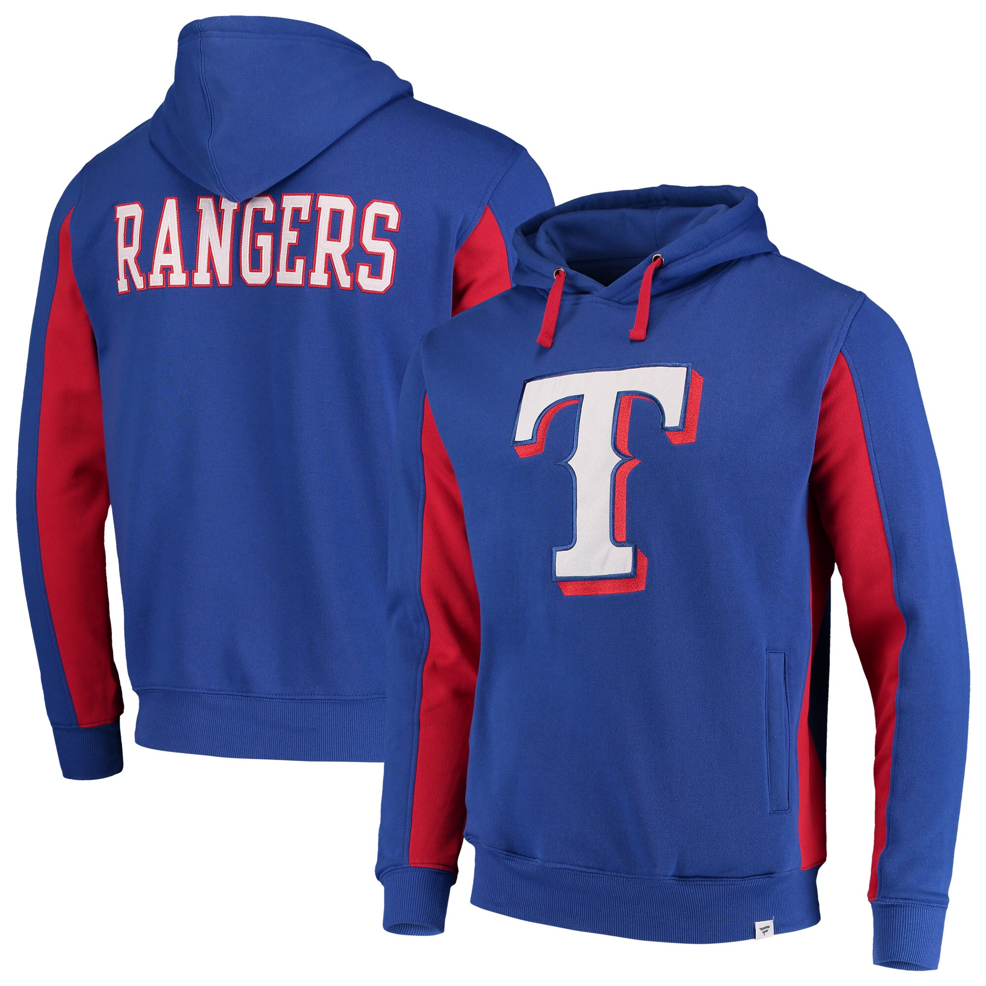 Texas Rangers Fanatics Branded Team Logo Iconic Fleece Pullover Hoodie - Royal/Red