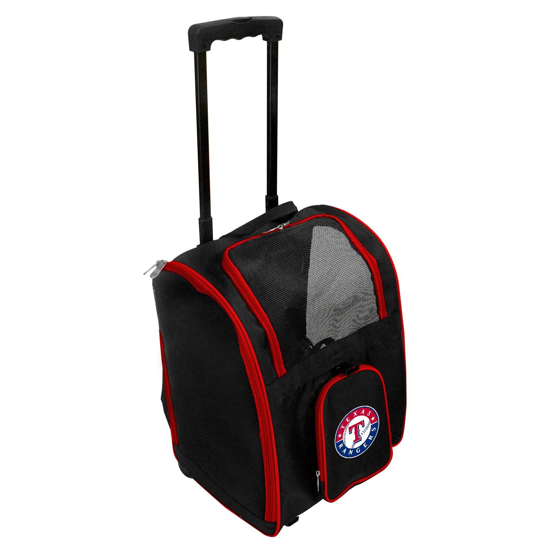 Texas Rangers 2-Wheeled Roller Pet Carrier - Black