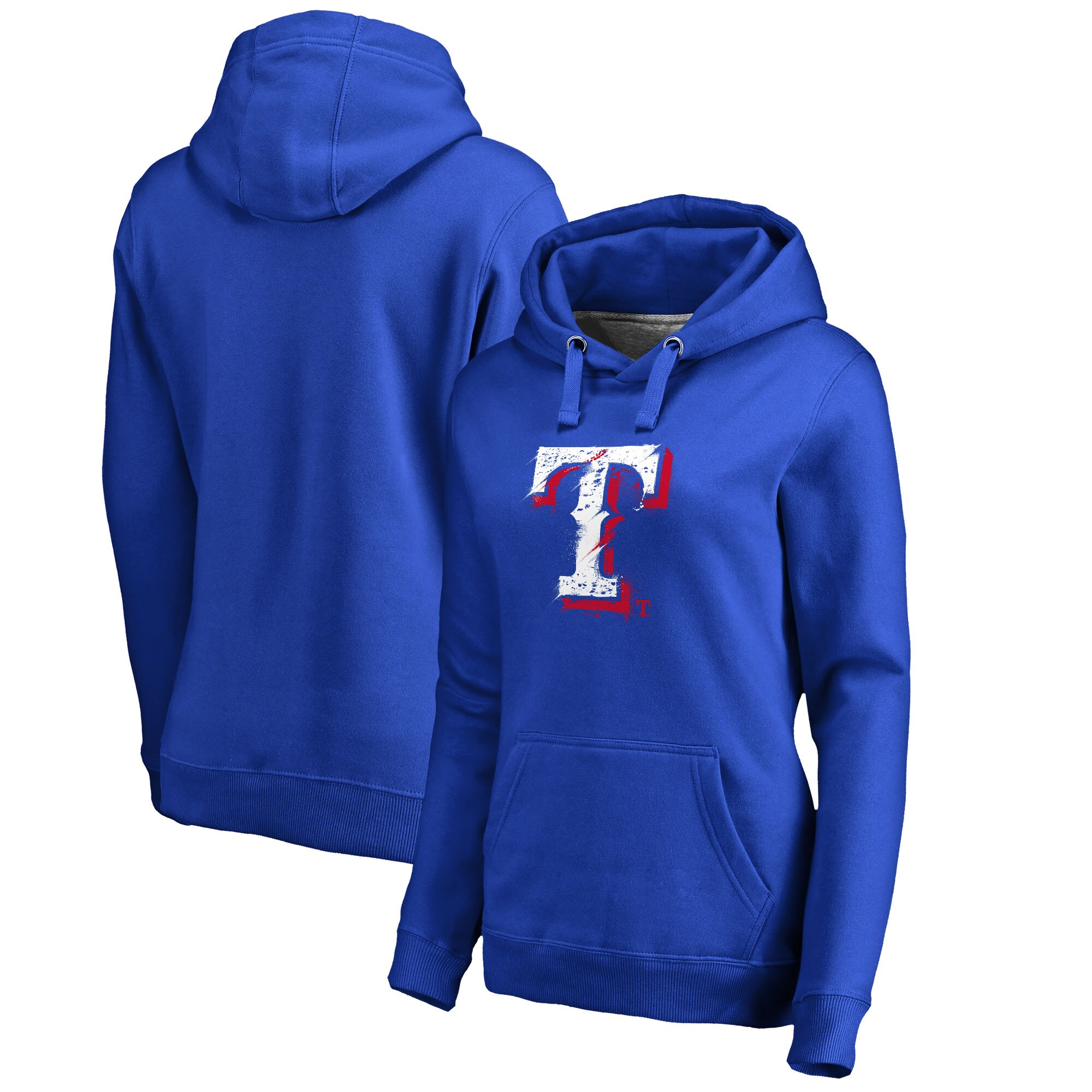 Texas Rangers Fanatics Branded Women's Splatter Logo Pullover Hoodie - Royal