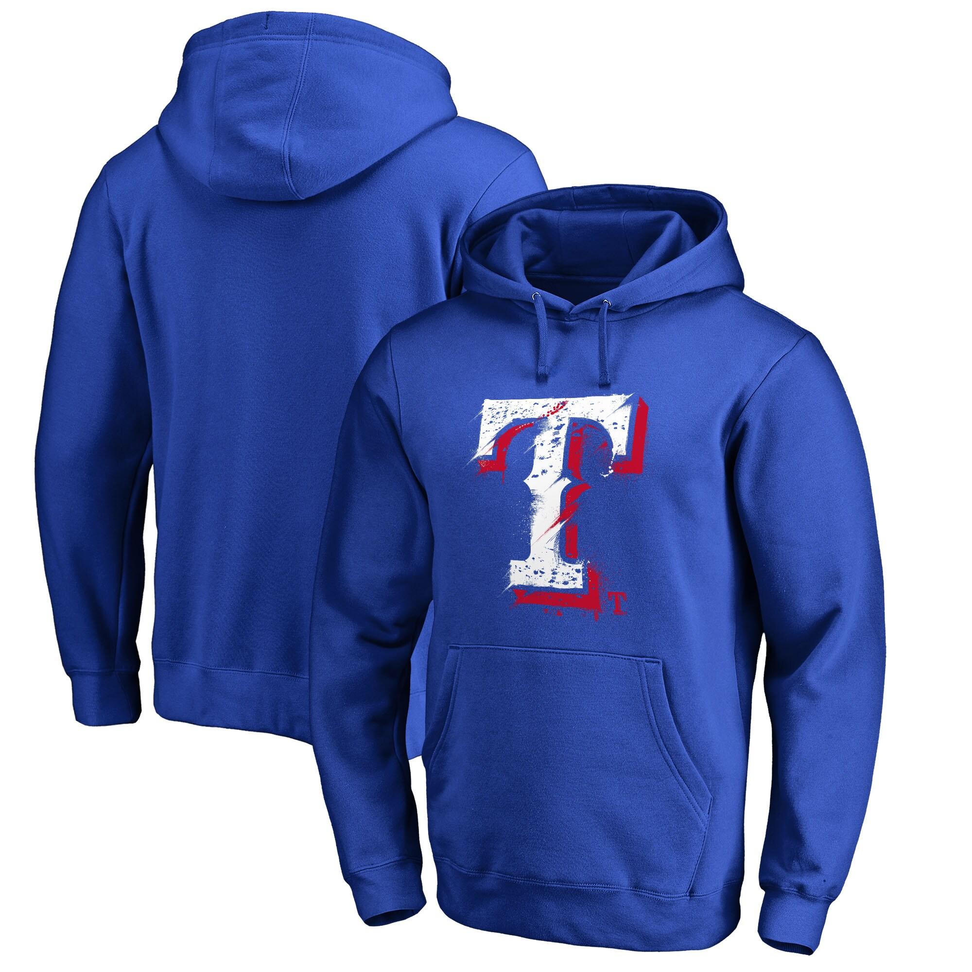Texas Rangers Fanatics Branded Splatter Logo Pullover Hoodie - Royal