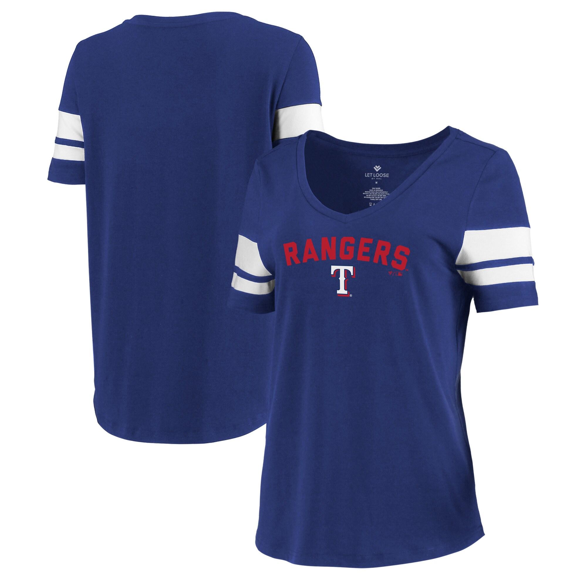 Texas Rangers Let Loose by RNL Women's Scramble Two Stripe Tri-Blend T-Shirt - Royal