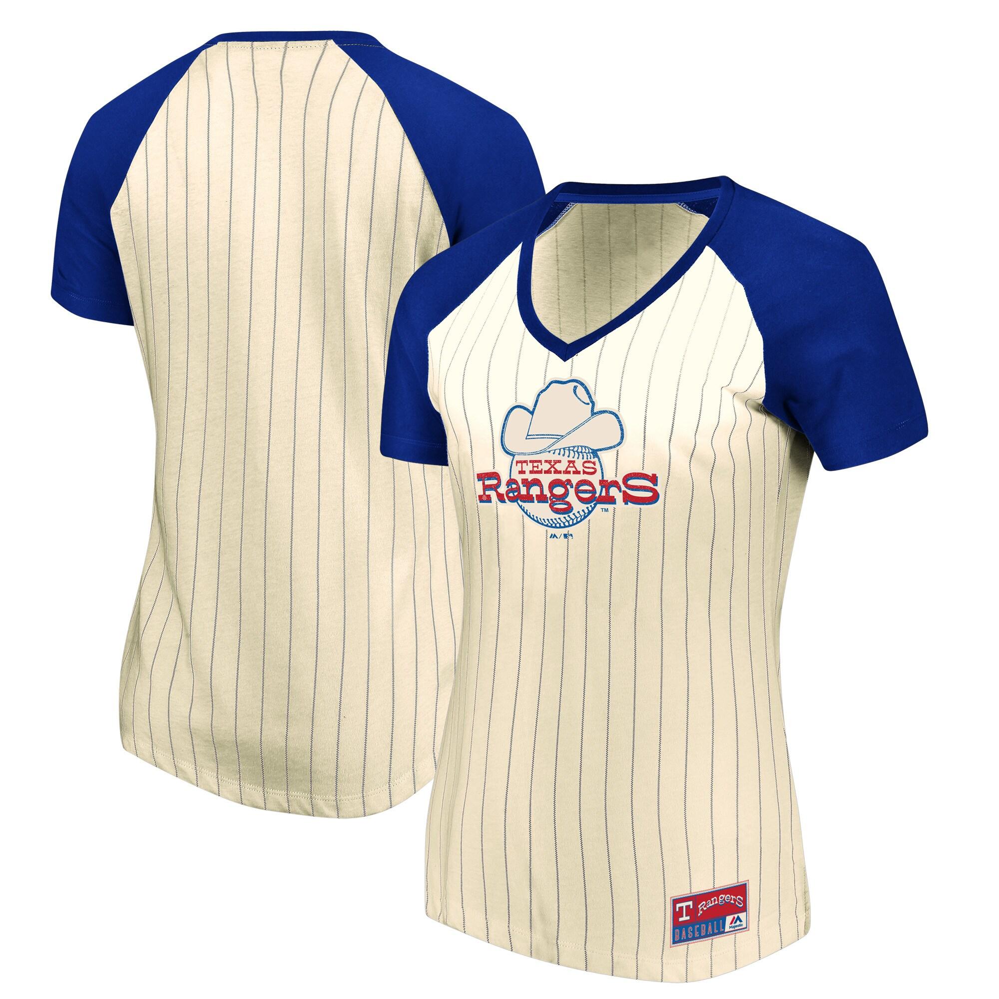 Texas Rangers Majestic Women's Concept of Winning Pinstripe V-Neck Raglan T-Shirt - Natural