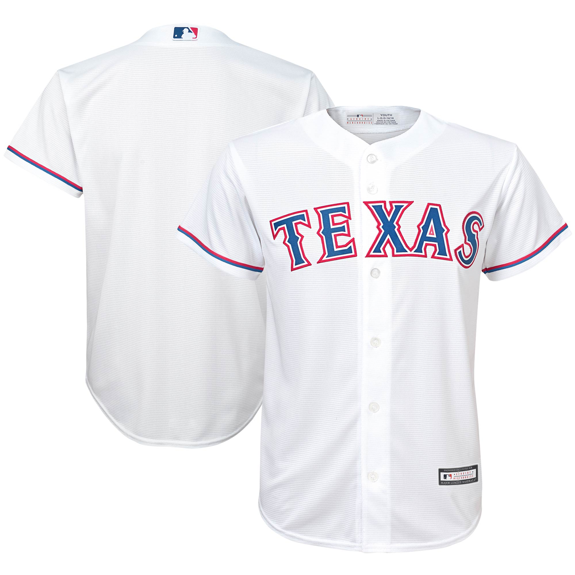 Texas Rangers Youth Replica Team Jersey - White