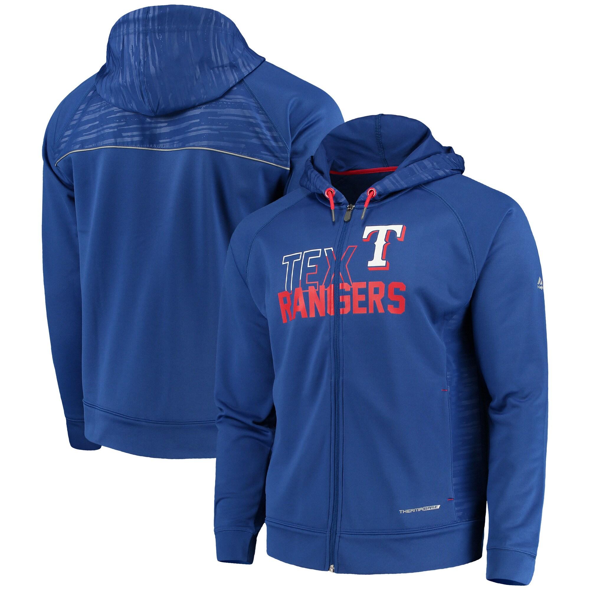 Texas Rangers Majestic MLB Chin Music Full Zip Therma Base Hoodie - Royal