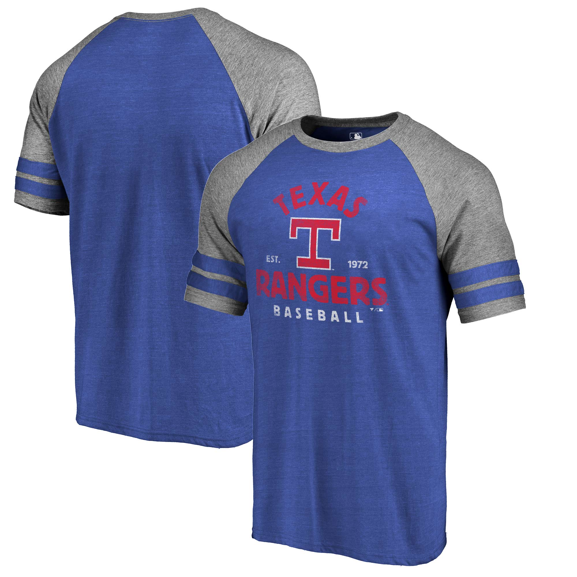 Texas Rangers Fanatics Branded Vintage Arch Tri-Blend Two Stripe Raglan T-Shirt - Royal