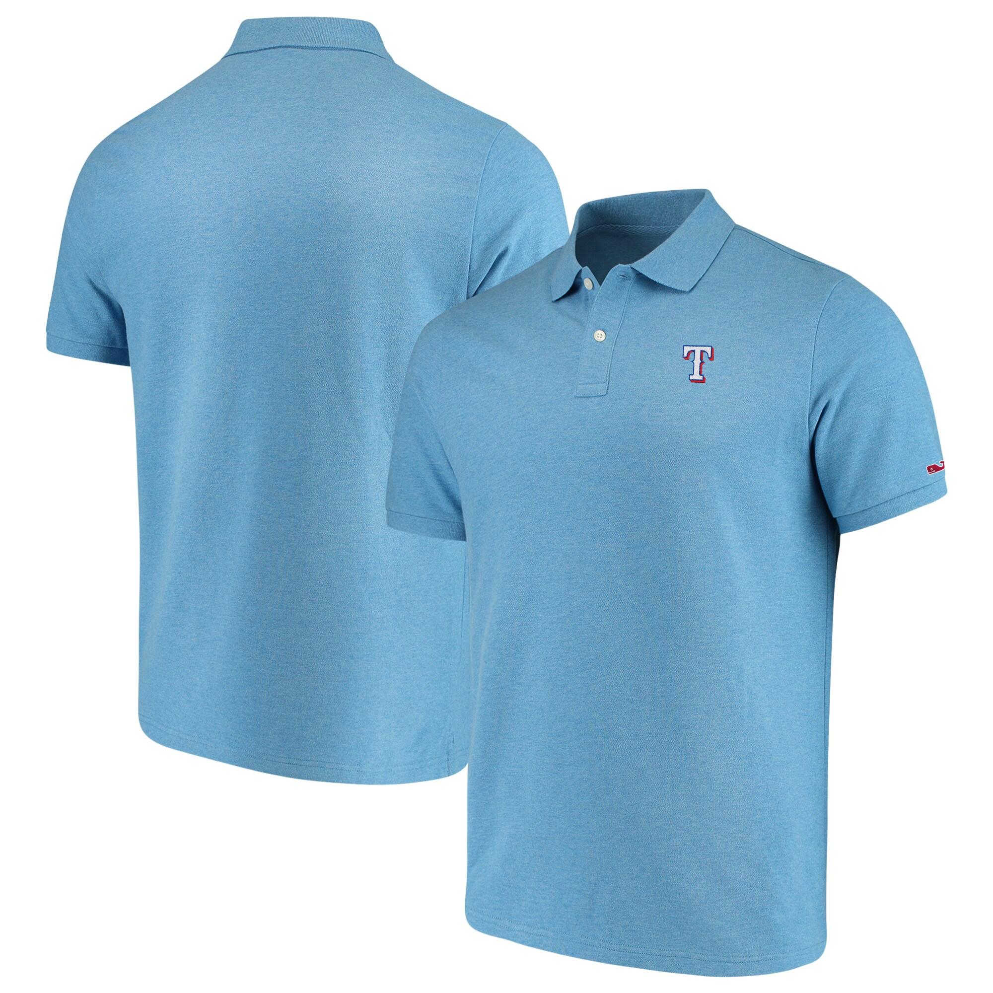 Texas Rangers Vineyard Vines Stretch Pique Polo - Light Blue