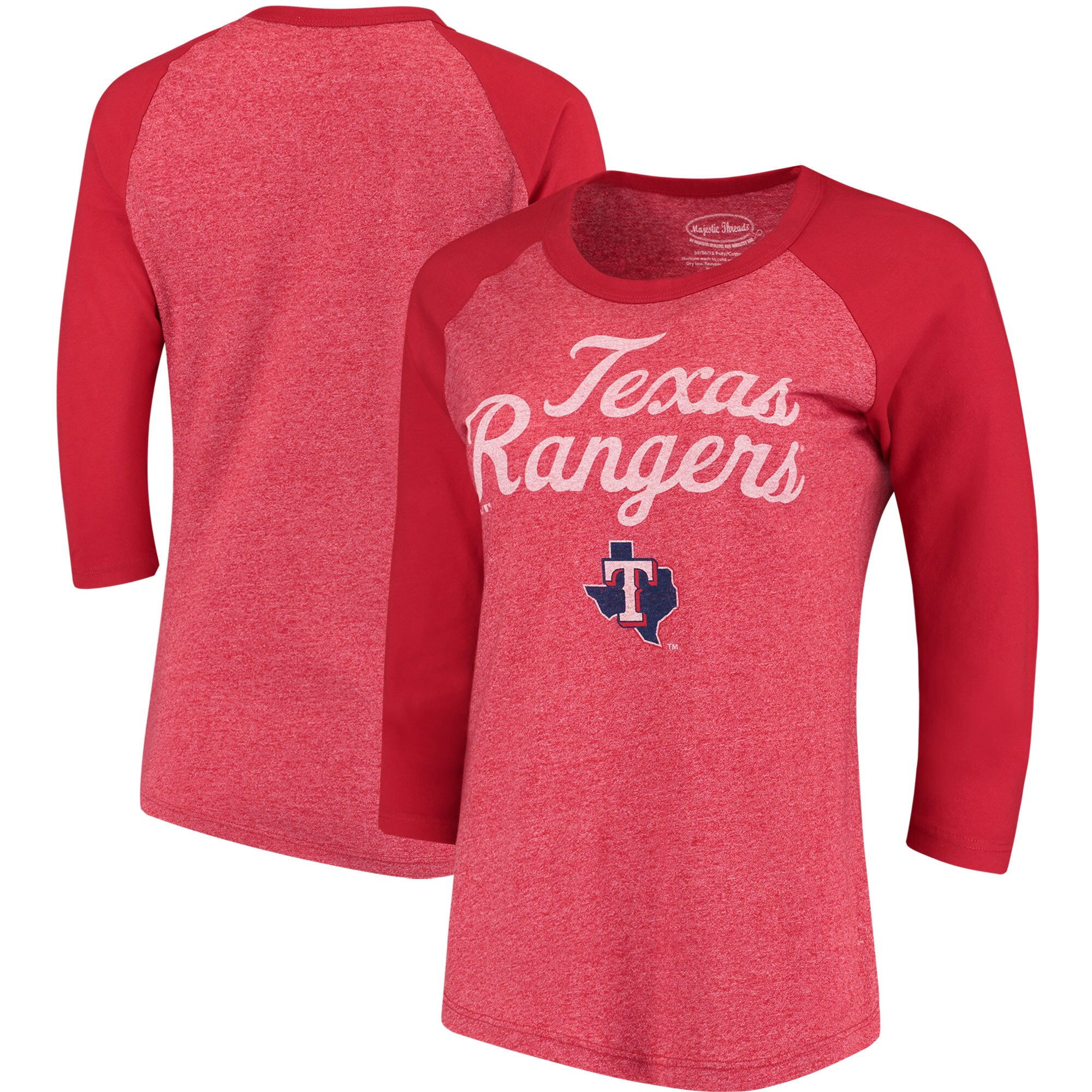 Texas Rangers Majestic Threads Women's 3/4-Sleeve Raglan T-Shirt - Red