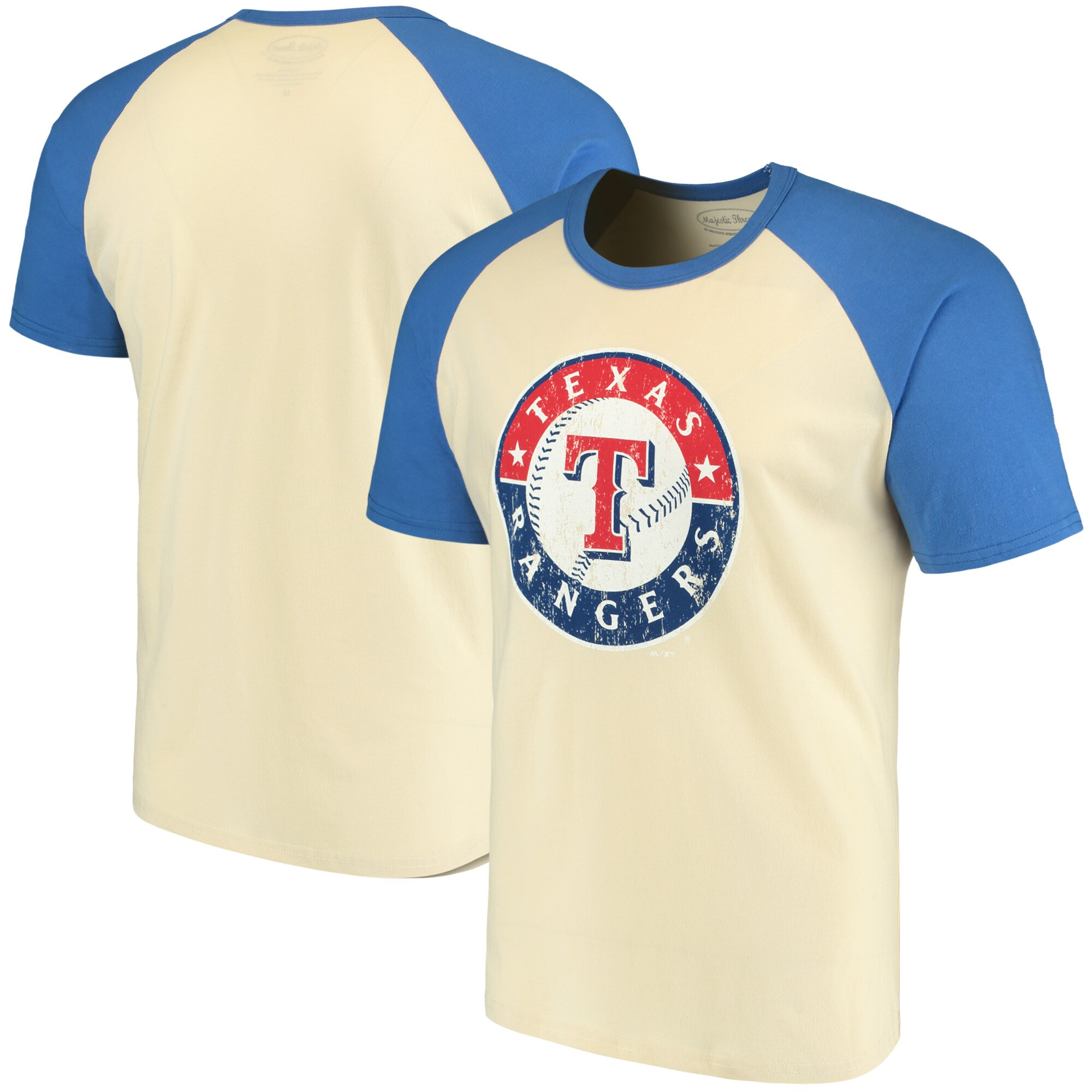 Texas Rangers Majestic Threads Softhand Raglan T-Shirt - Cream/Royal
