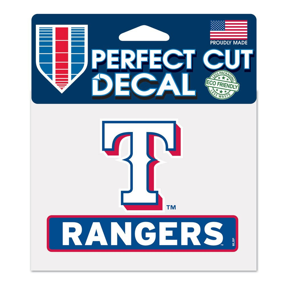 "Texas Rangers WinCraft 4"" x 5"" Perfect Cut Logo Slogan Decal"
