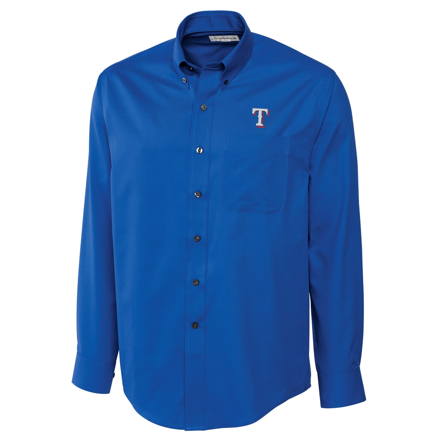Texas Rangers Cutter & Buck Big & Tall Epic Easy Care Fine Twill Long Sleeve Shirt - Royal