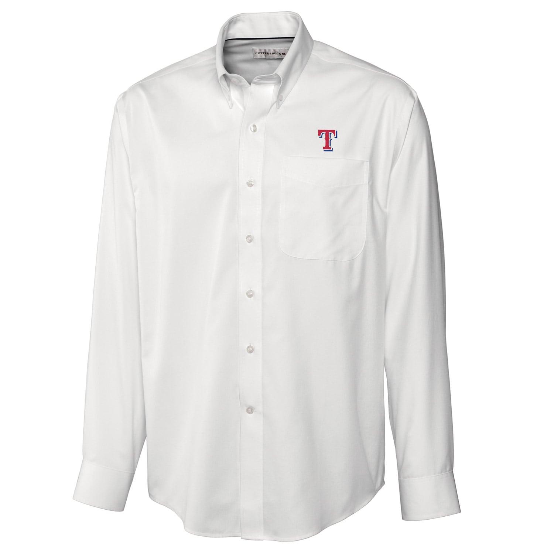 Texas Rangers Cutter & Buck Big & Tall Epic Easy Care Fine Twill Long Sleeve Shirt - White
