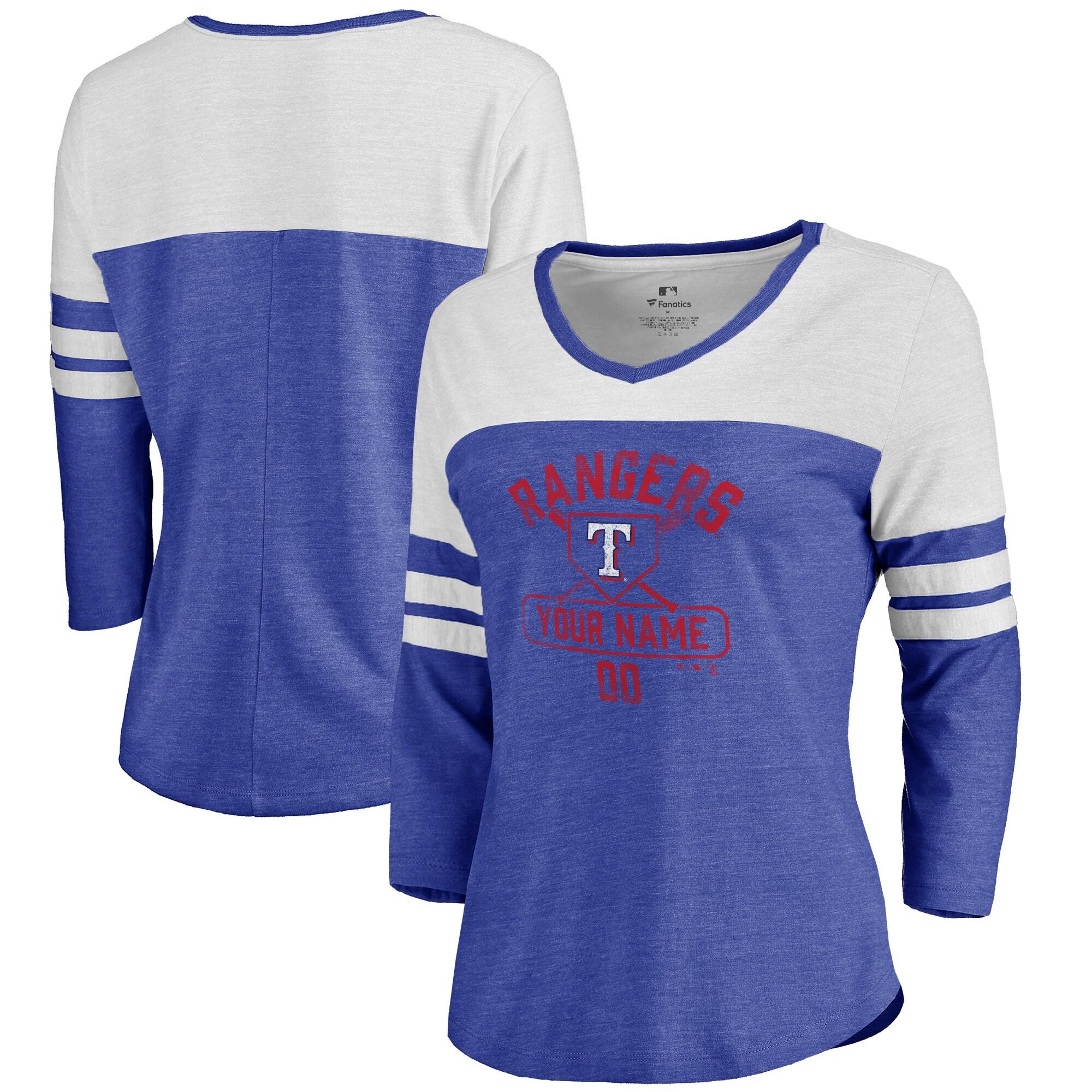 Texas Rangers Fanatics Branded Women's Personalized Base Runner Tri-Blend Three-Quarter Sleeve T-Shirt - Royal