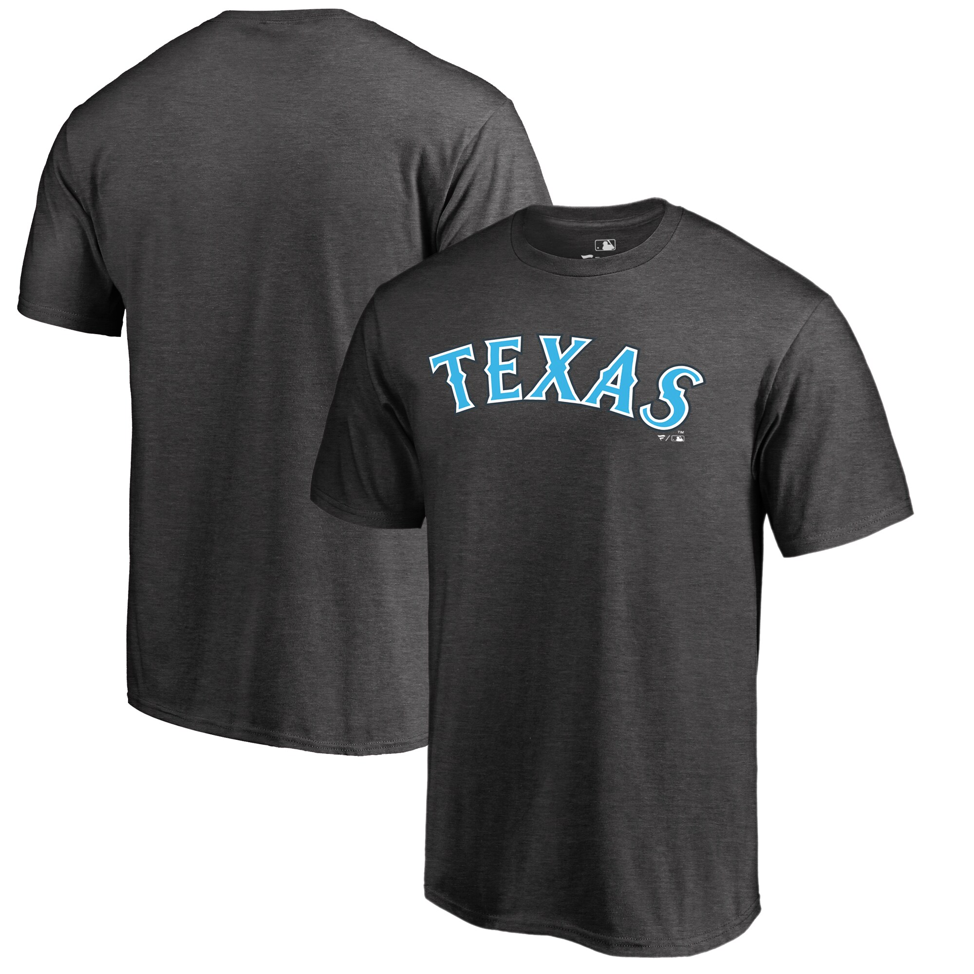 Texas Rangers Fanatics Branded 2019 Father's Day Big & Tall Blue Wordmark T-Shirt - Charcoal