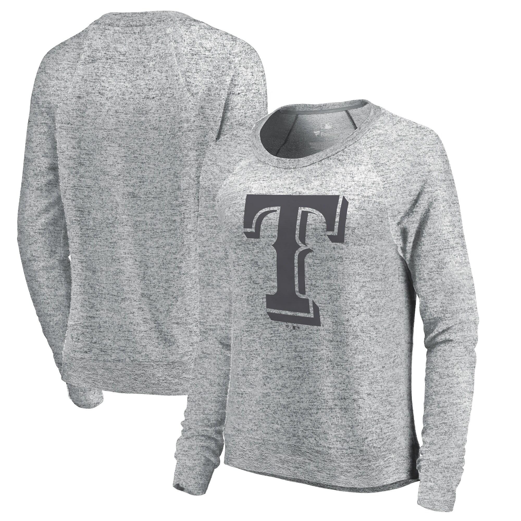 Texas Rangers Let Loose by RNL Women's Cozy Collection Plush Raglan Tri-Blend Sweatshirt - Ash