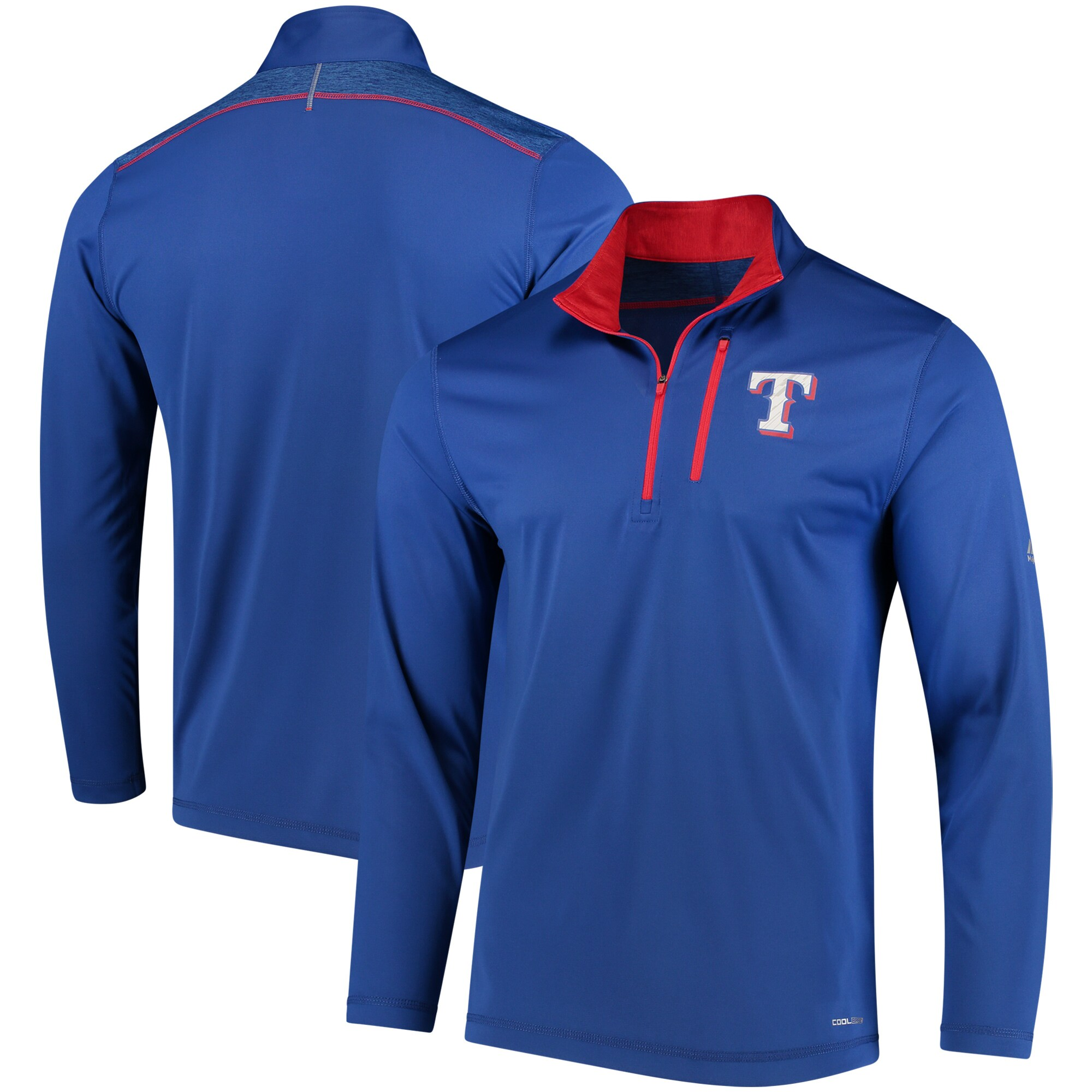 Texas Rangers Majestic Half-Zip Pullover Top - Royal