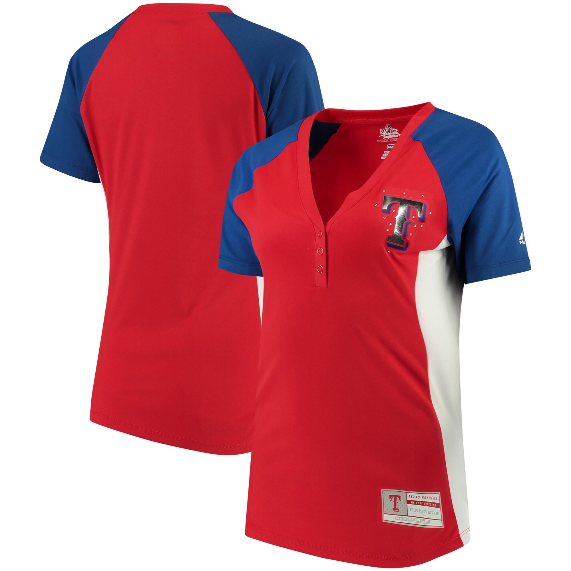 Texas Rangers Majestic Women's League Diva Snap Placket T-Shirt - Red