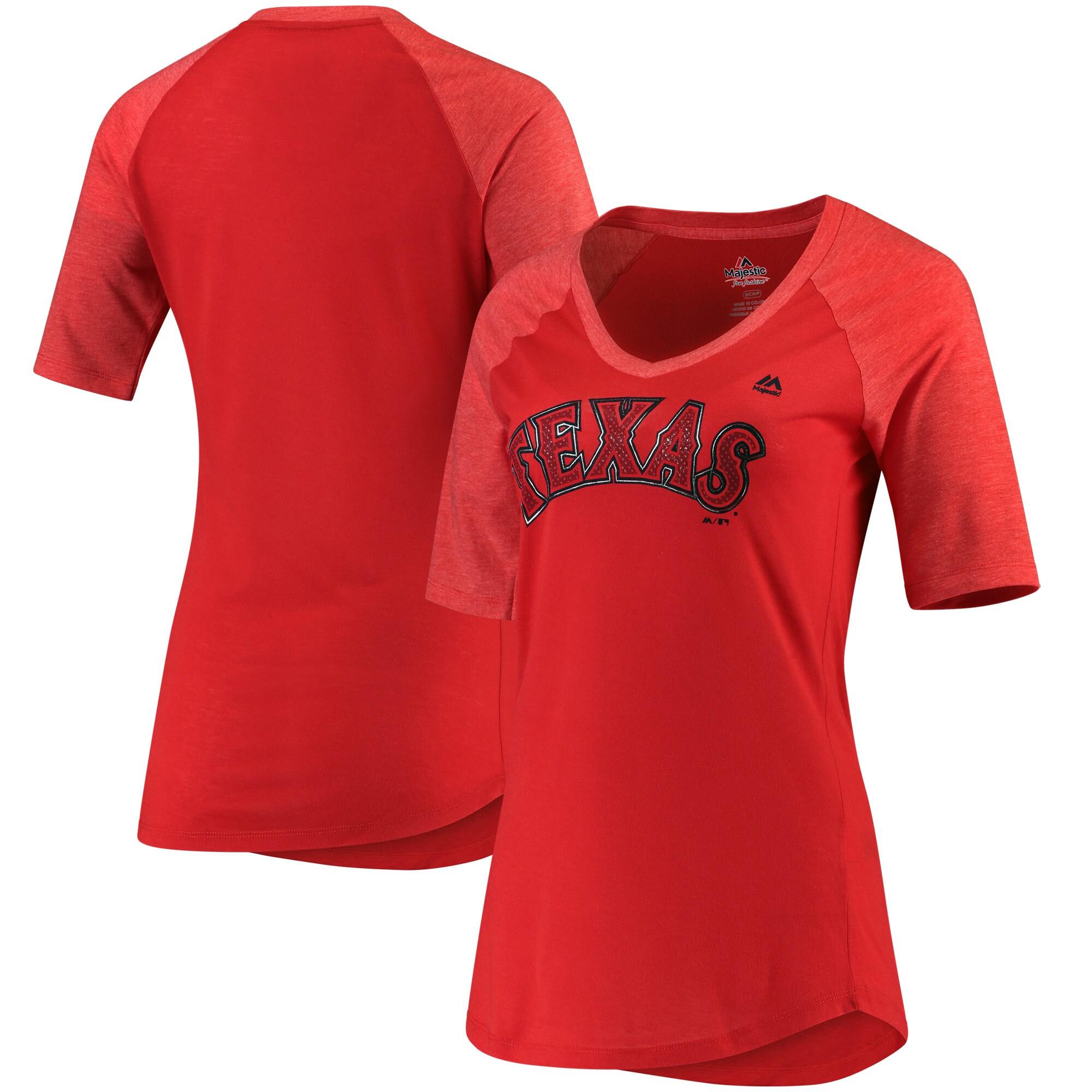 Texas Rangers Majestic Women's Quick Hands Raglan Half-Sleeve T-Shirt - Red