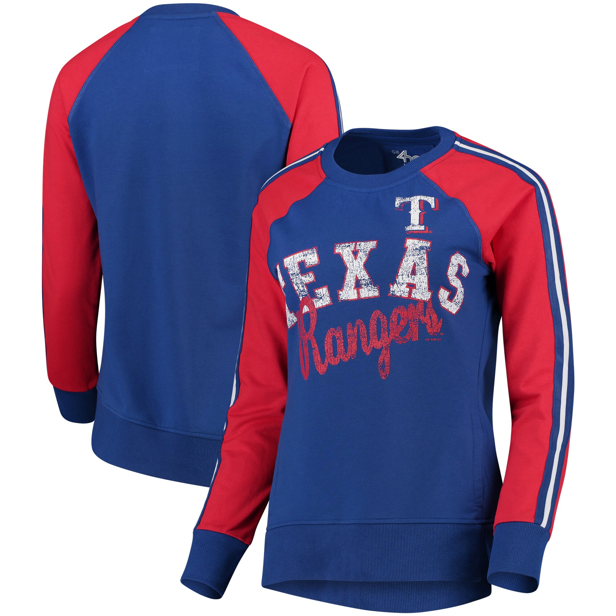 Texas Rangers G-III 4Her by Carl Banks Women's Perfect Pitch Pullover Sweatshirt - Royal/Red