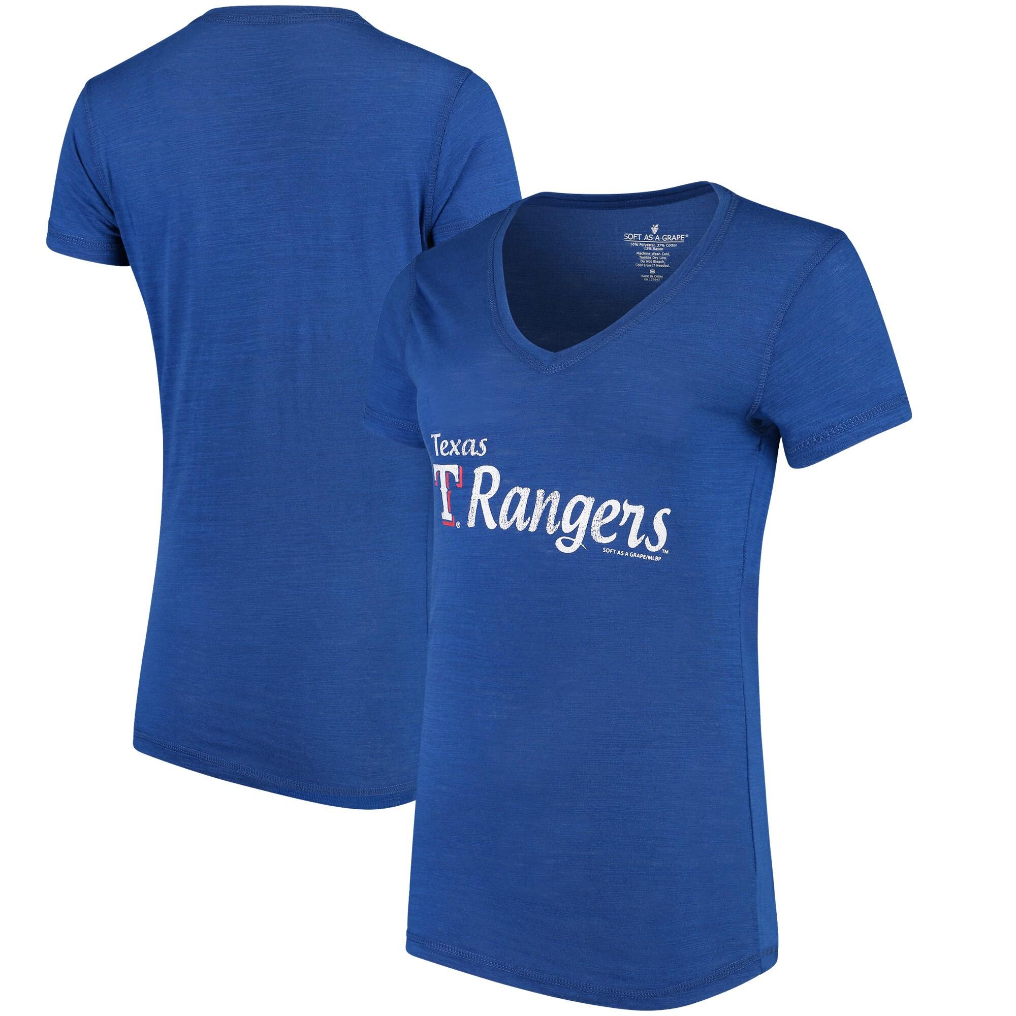 Texas Rangers Soft As A Grape Women's Double Steal Tri-Blend V-Neck T-Shirt - Royal