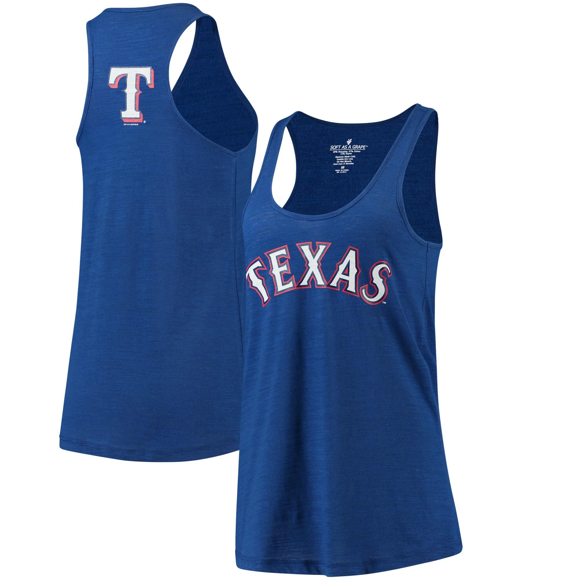 Texas Rangers Soft As A Grape Women's Front & Back Tri-Blend Racerback Tank Top - Royal