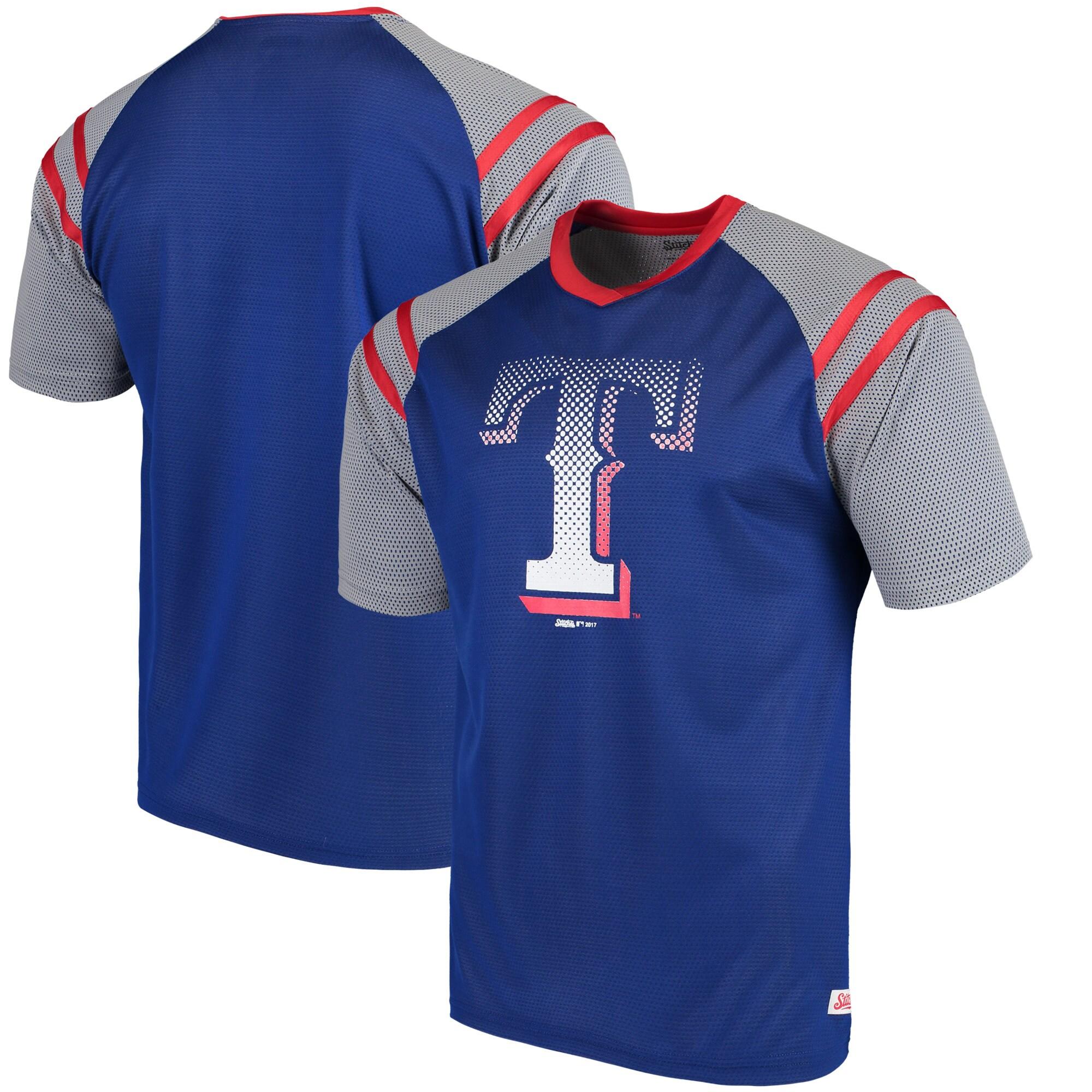 Texas Rangers Stitches V-Neck Mesh Jersey T-Shirt - Royal/Red