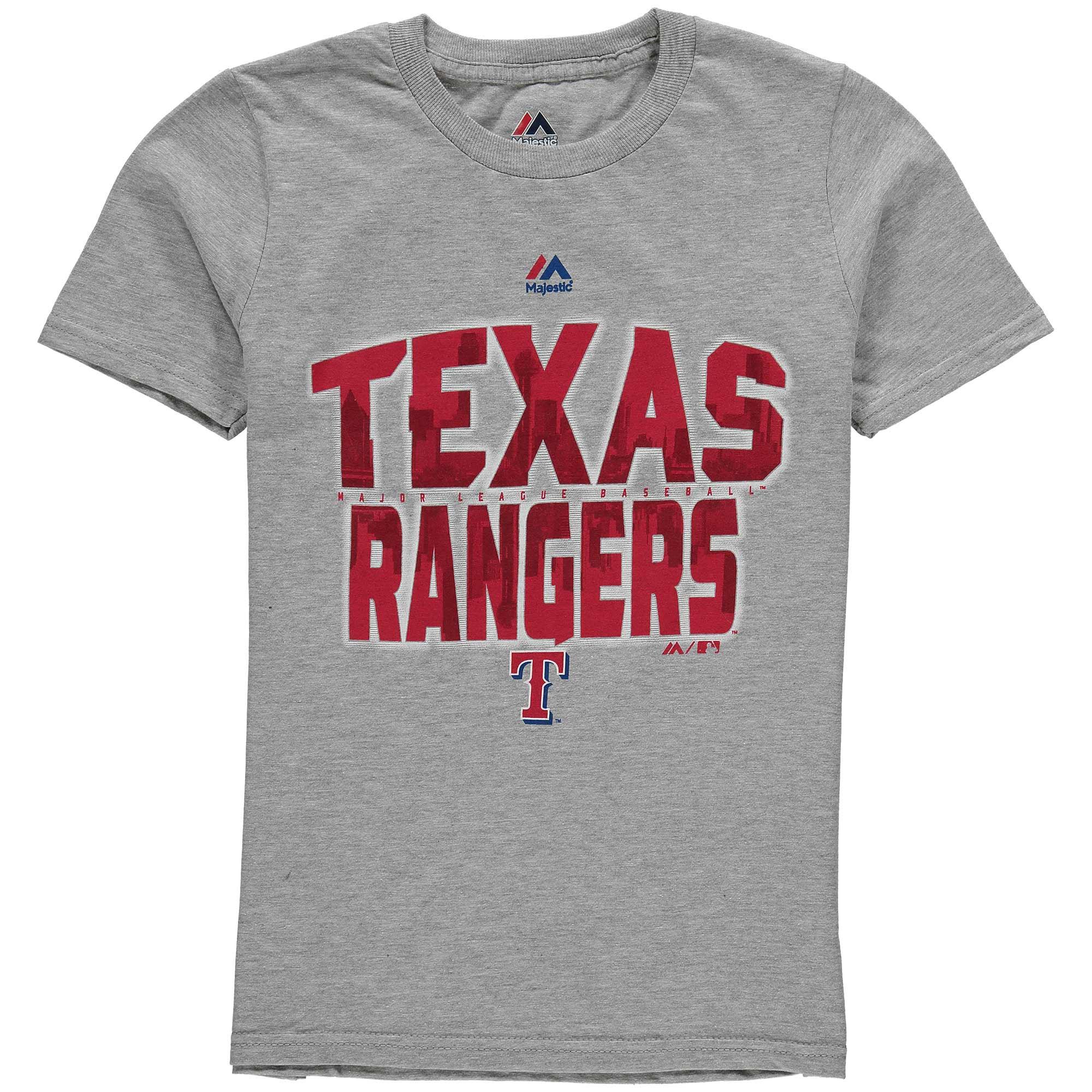Texas Rangers Majestic Youth Big City T-Shirt - Gray