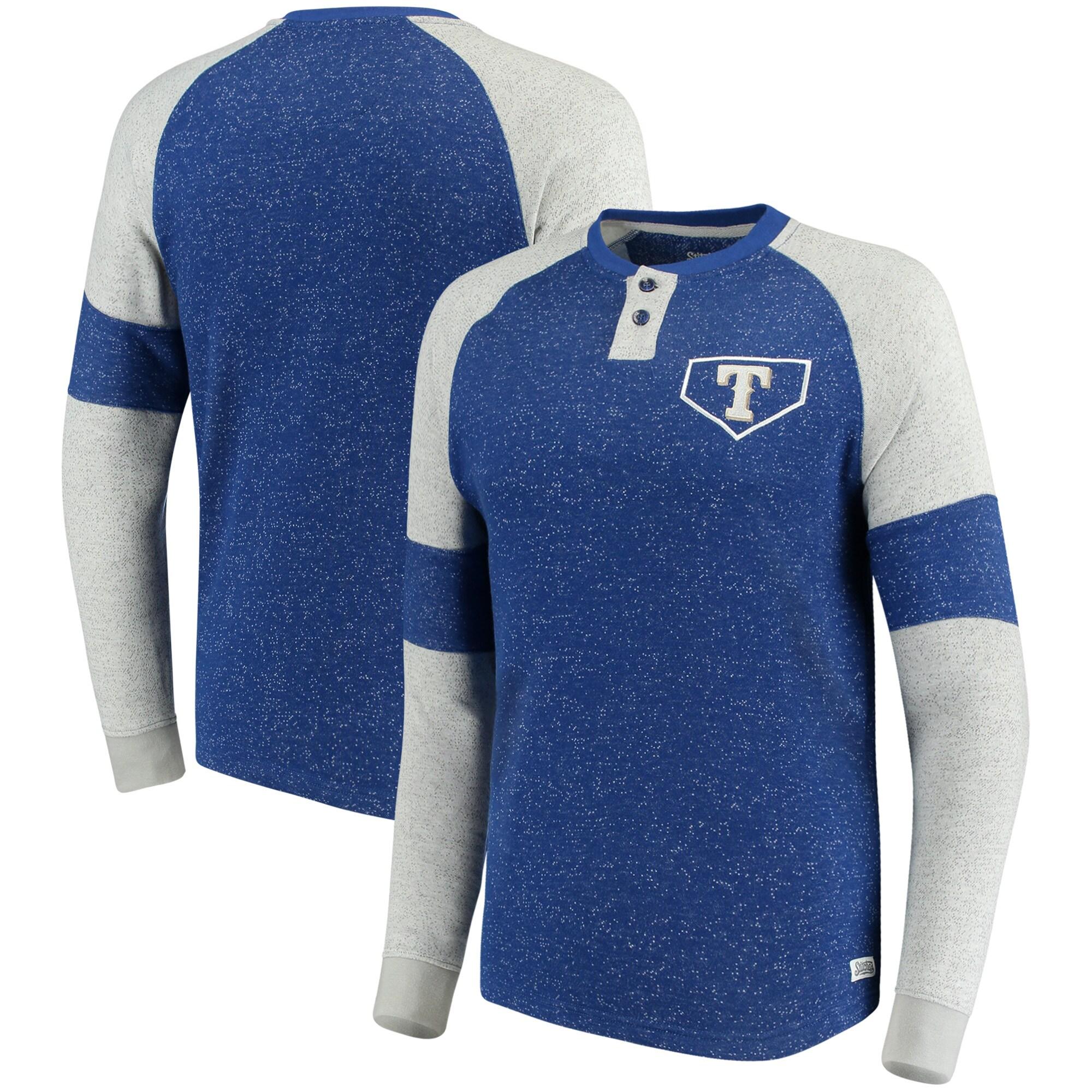 Texas Rangers Stitches Twisted Yarn Henley Long Sleeve T-Shirt - Royal